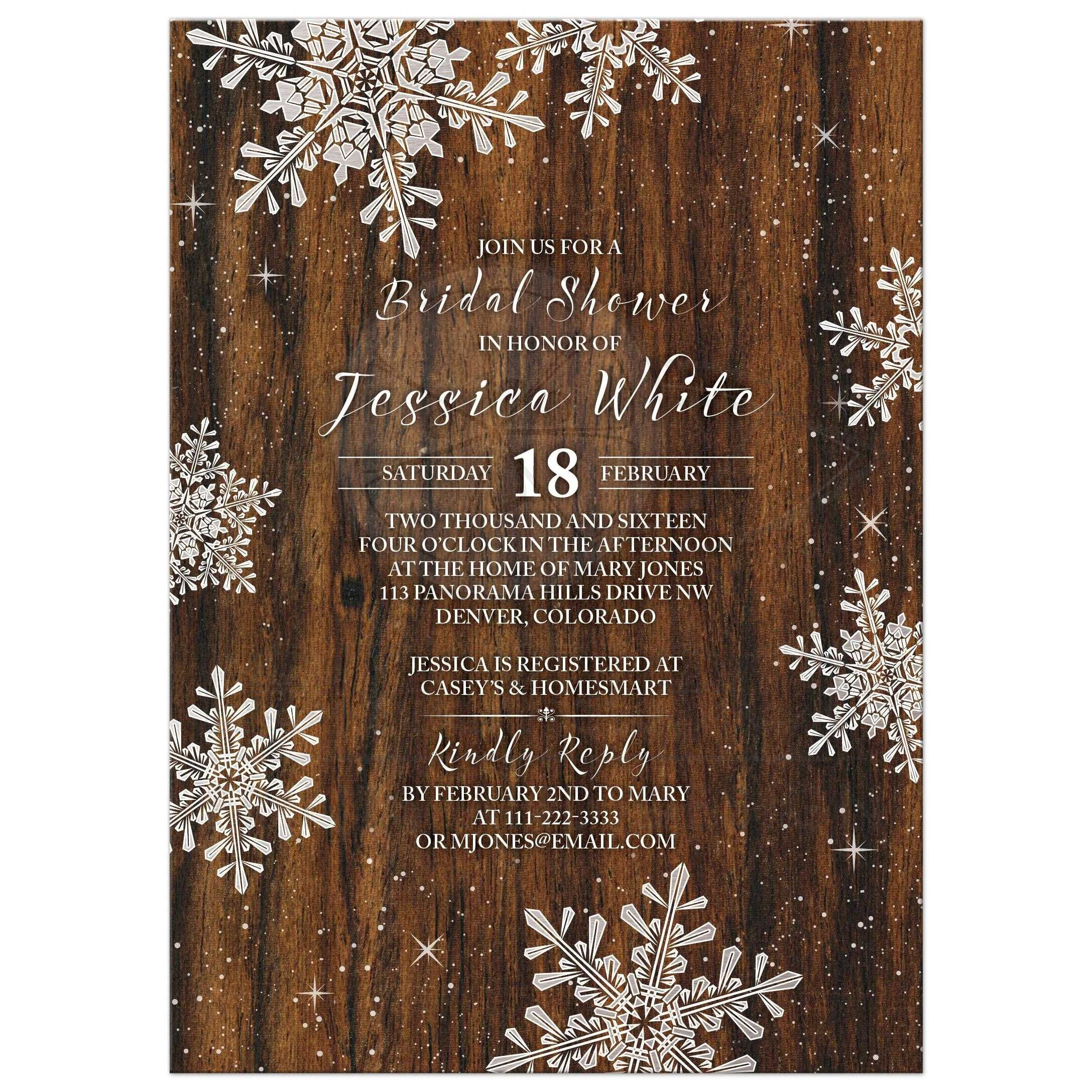 Rustic Winter Snowflake And Wood Bridal Shower Invitation Front ...