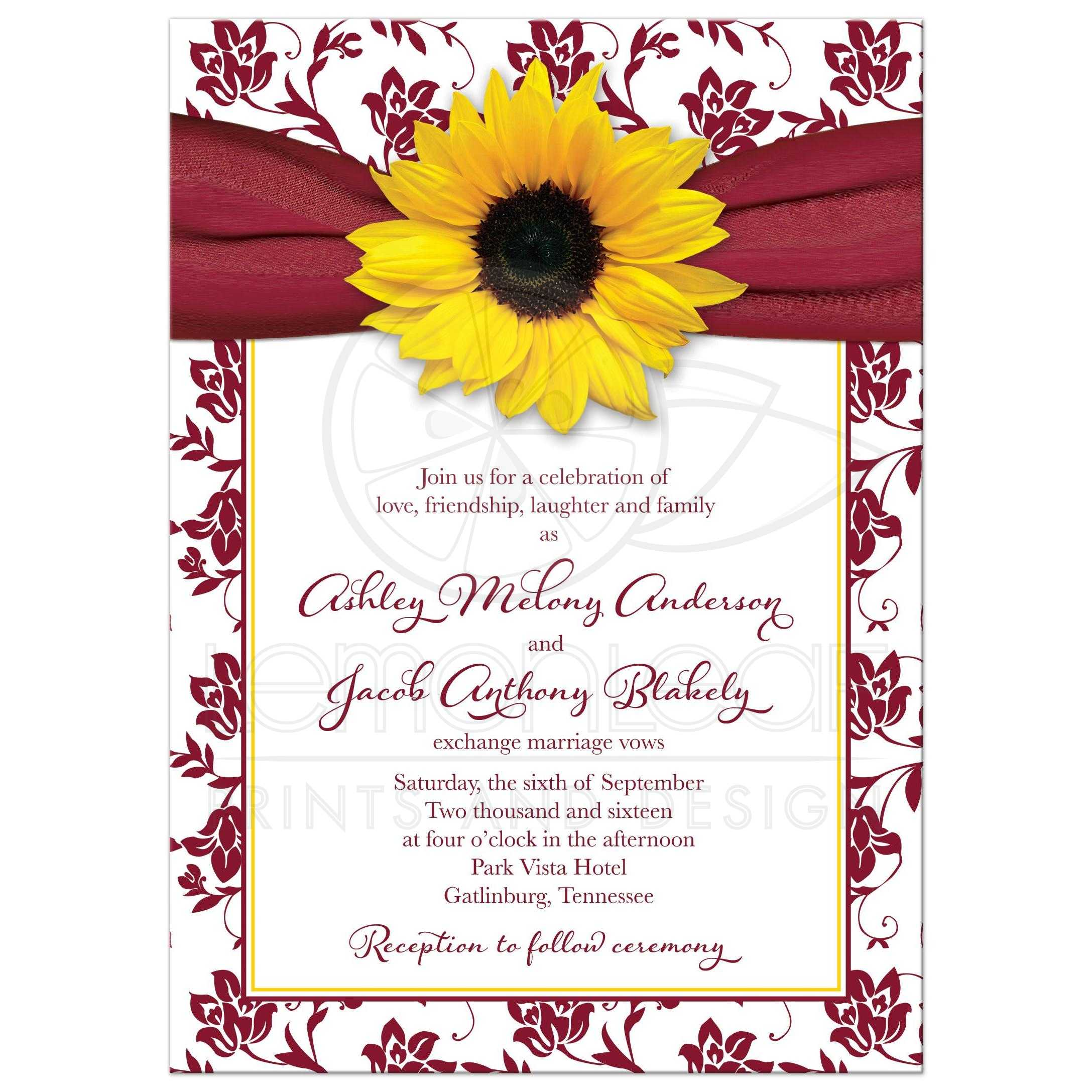 Fall Sunflower Wedding Invitation Burgundy Yellow