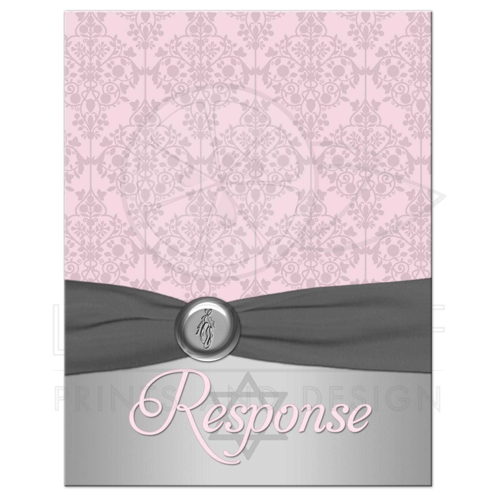 Bat Mitzvah Response Card | Pink, Gray Ballet Shoes | Damask ...