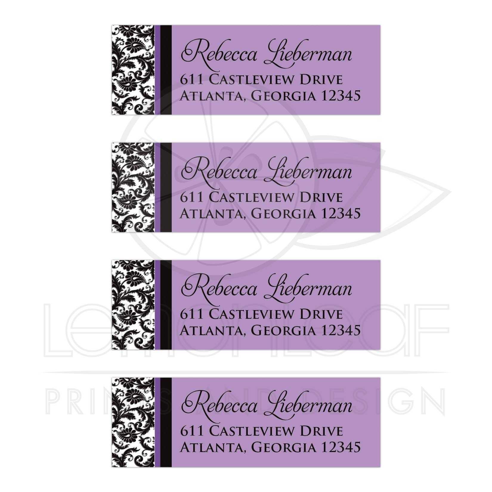 purple return address labels black and white damask