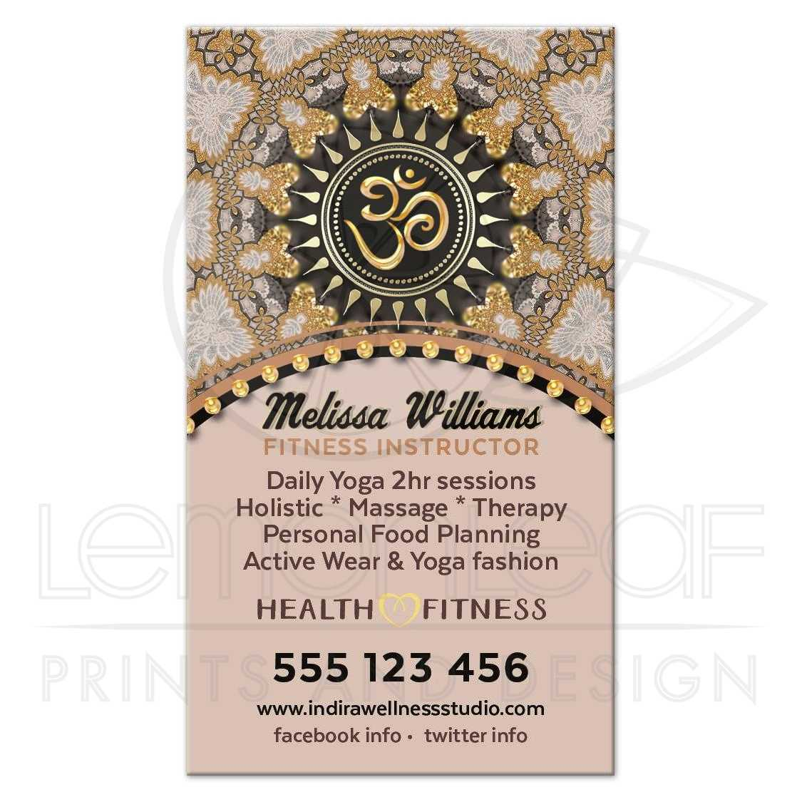 Om yoga business card blush rose gold glitter colourmoves