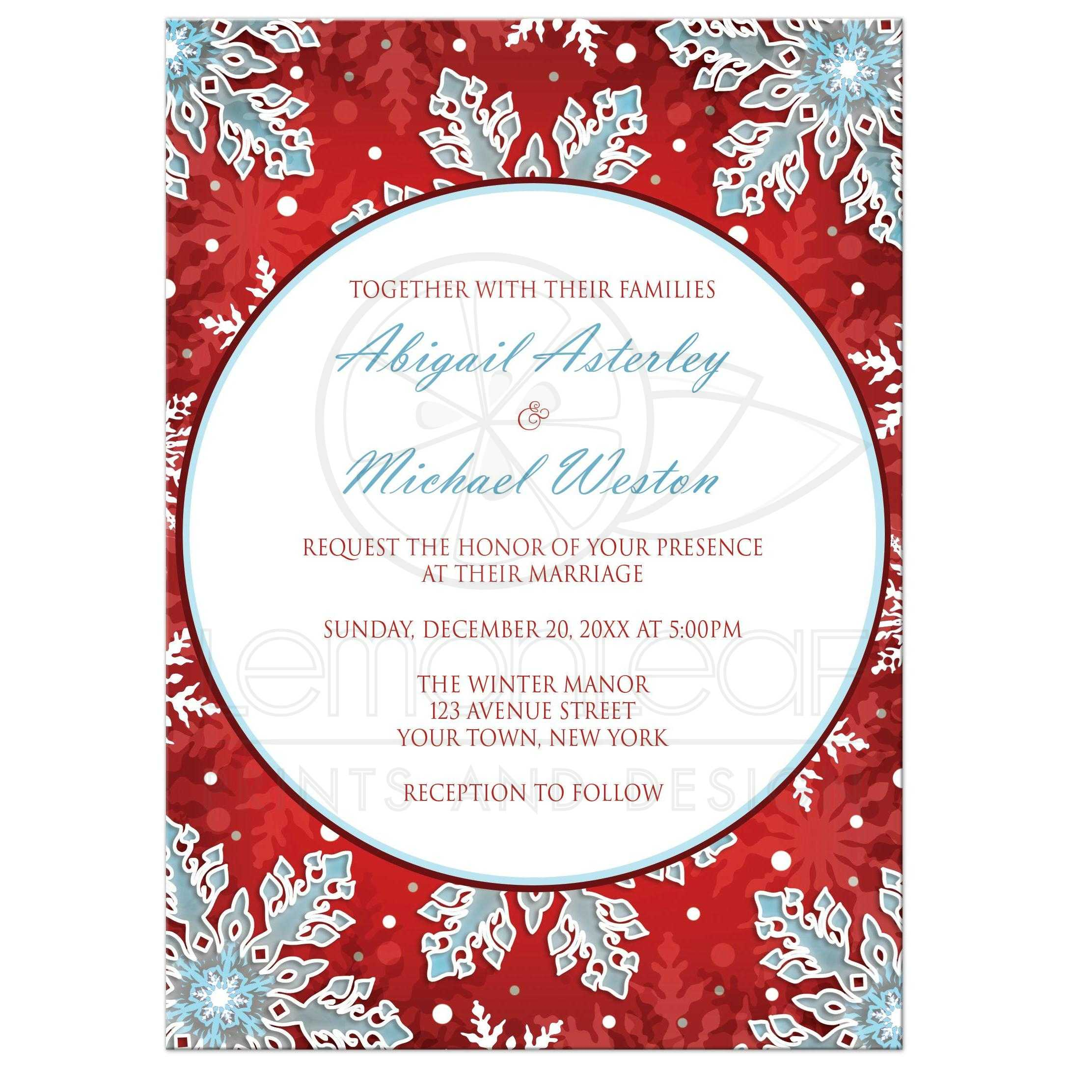 Wedding Invitations - Modern Red White Blue Snowflake