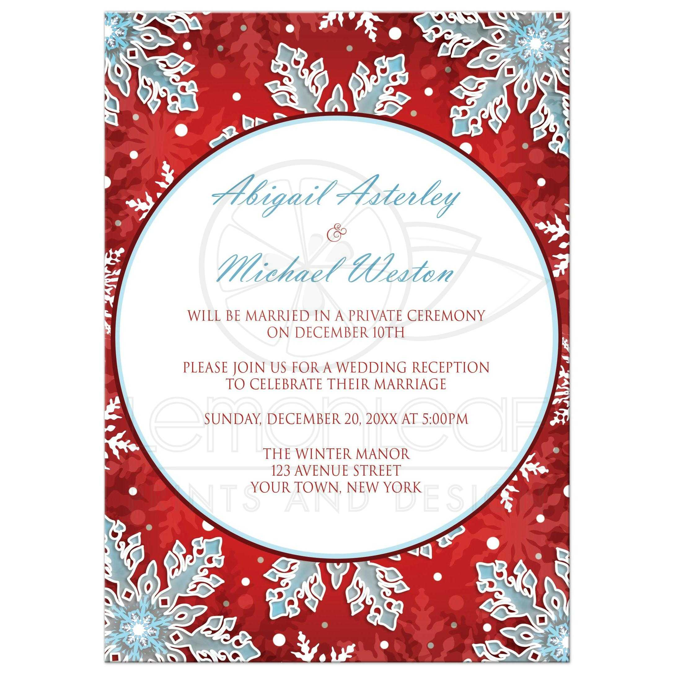 Reception Only Invitations - Modern Red White Blue Snowflake
