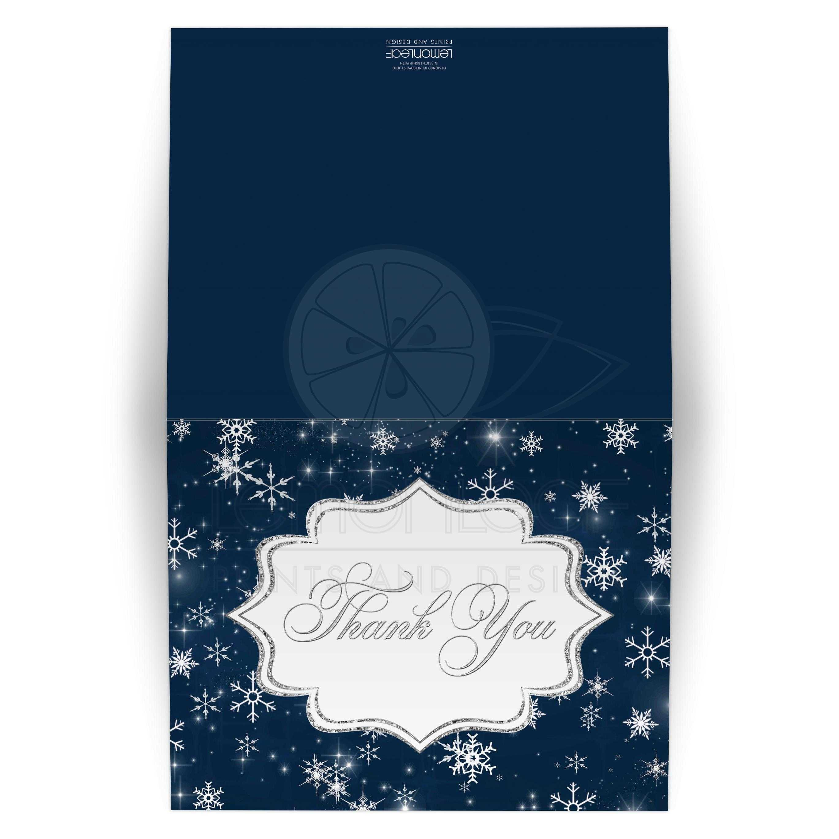 Great Winter Wonderland Wedding Thank You Card In Navy Blue White And Silver Snowflakes: Blank Wedding Invitations Snow Flakes At Reisefeber.org