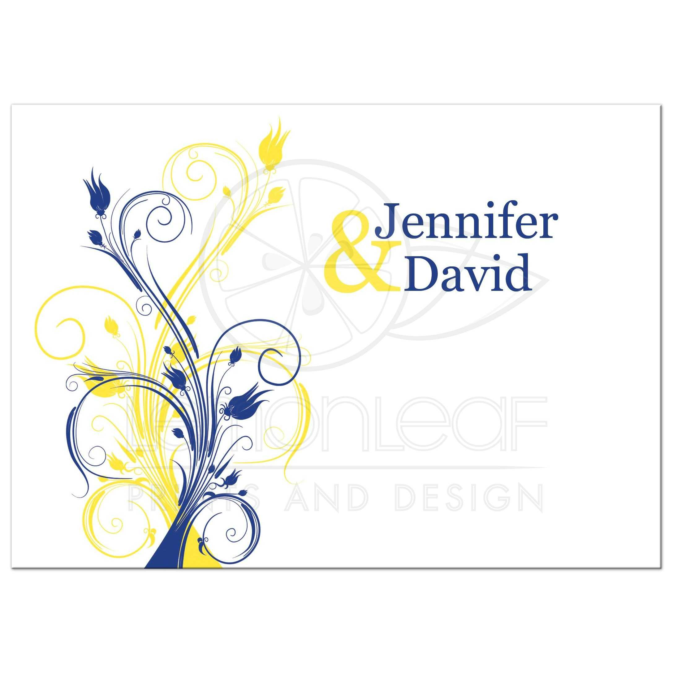 Best Royal Blue, Yellow, And White Abstract Floral Wedding Invitation ...