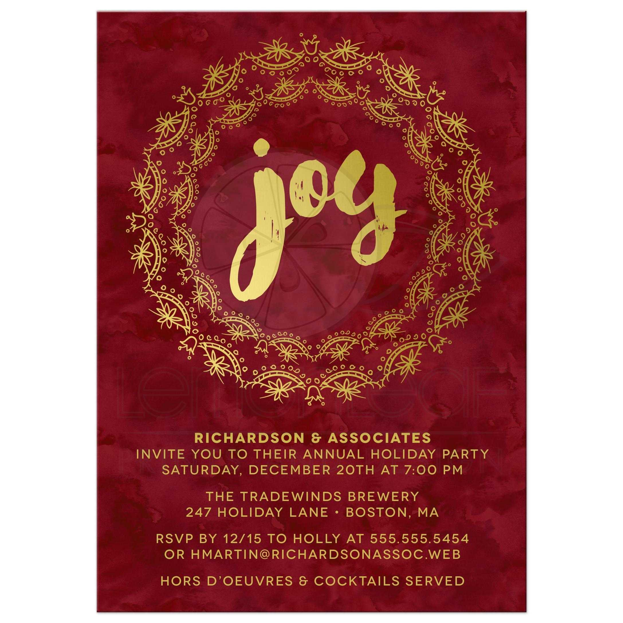 Corporate Holiday Party Invitations - Gilded Joy