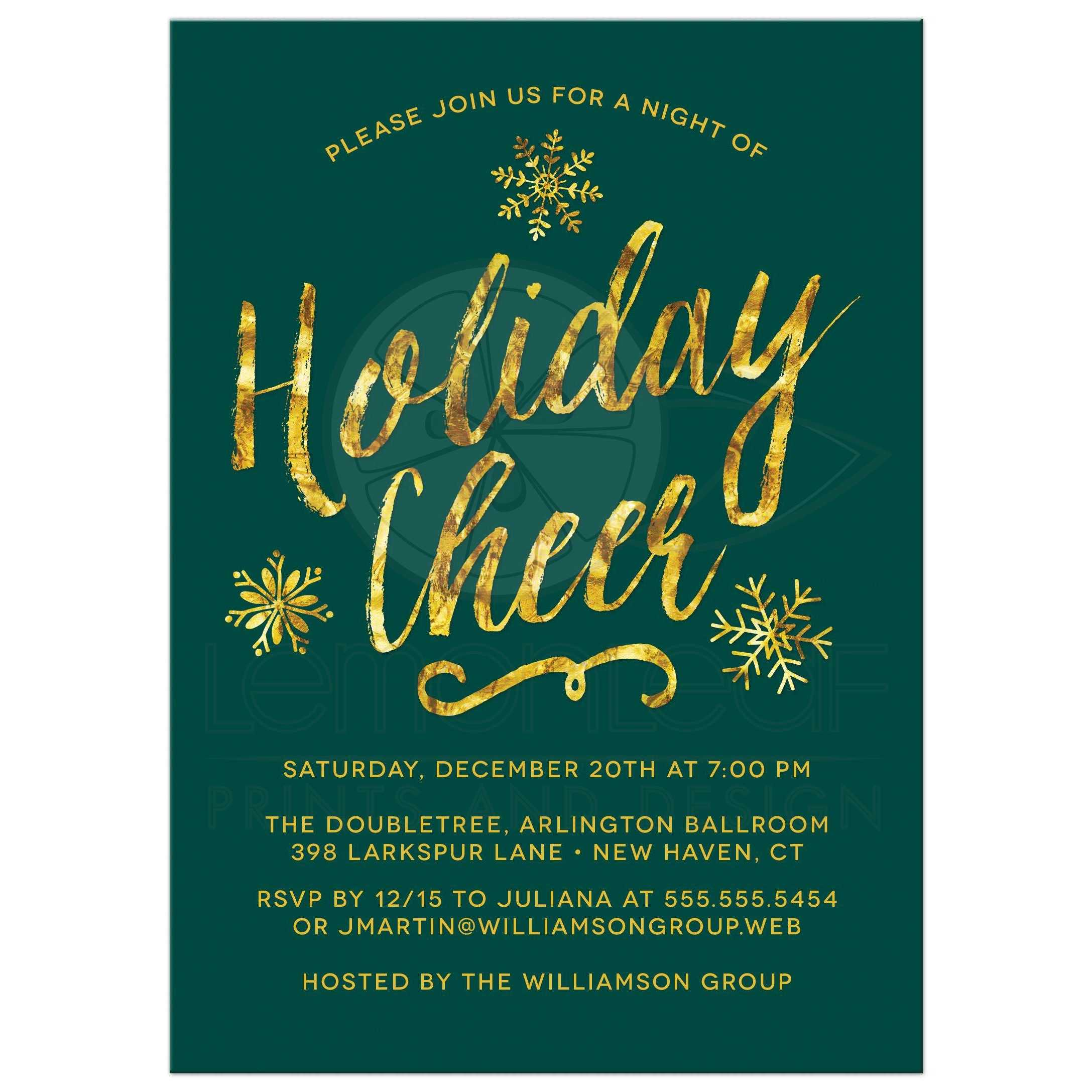 exceptionnel Golden Holiday Cheer Corporate Holiday Party Invitations ...