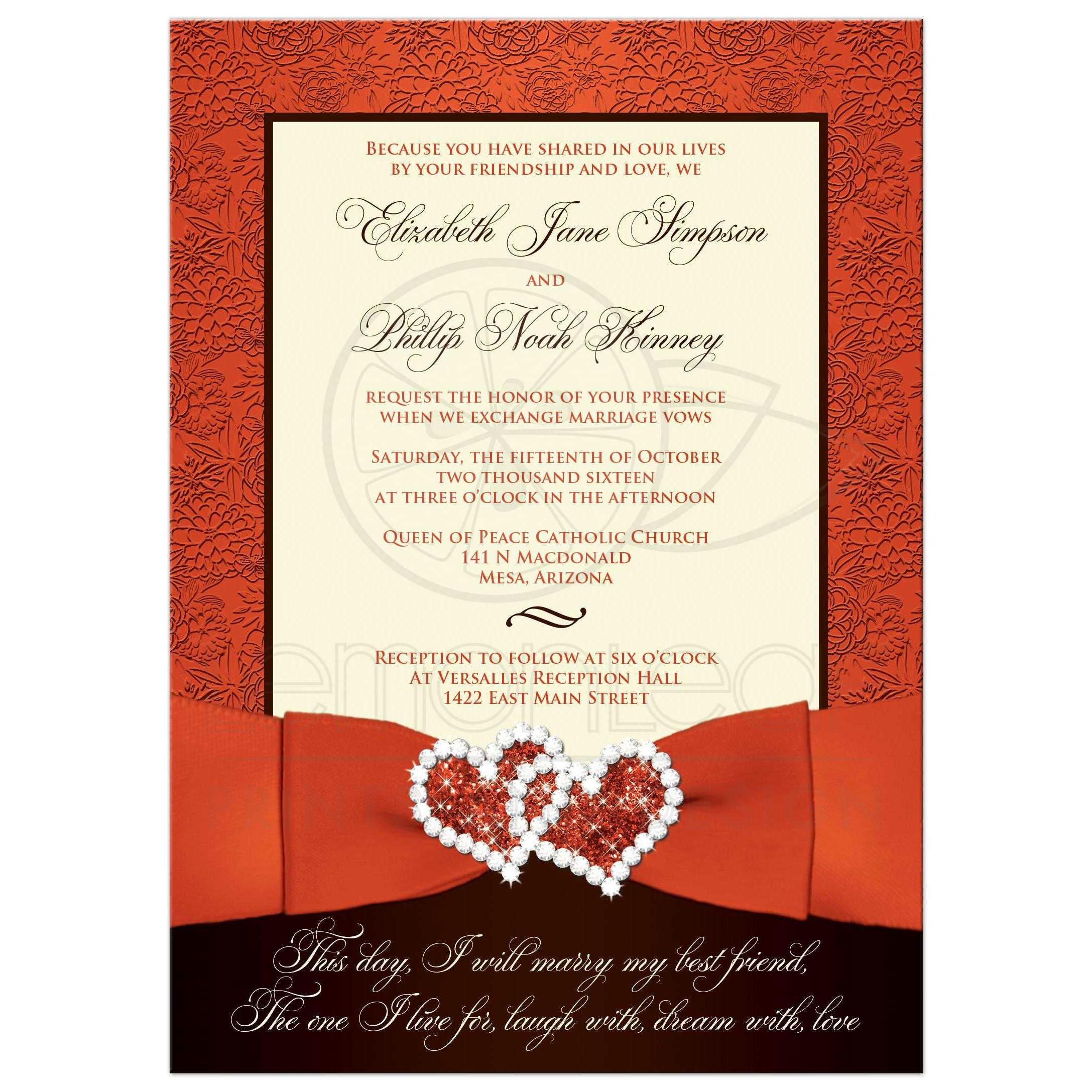 Wedding Invitation | Orange, Brown, Cream Floral | Printed Ribbon ...