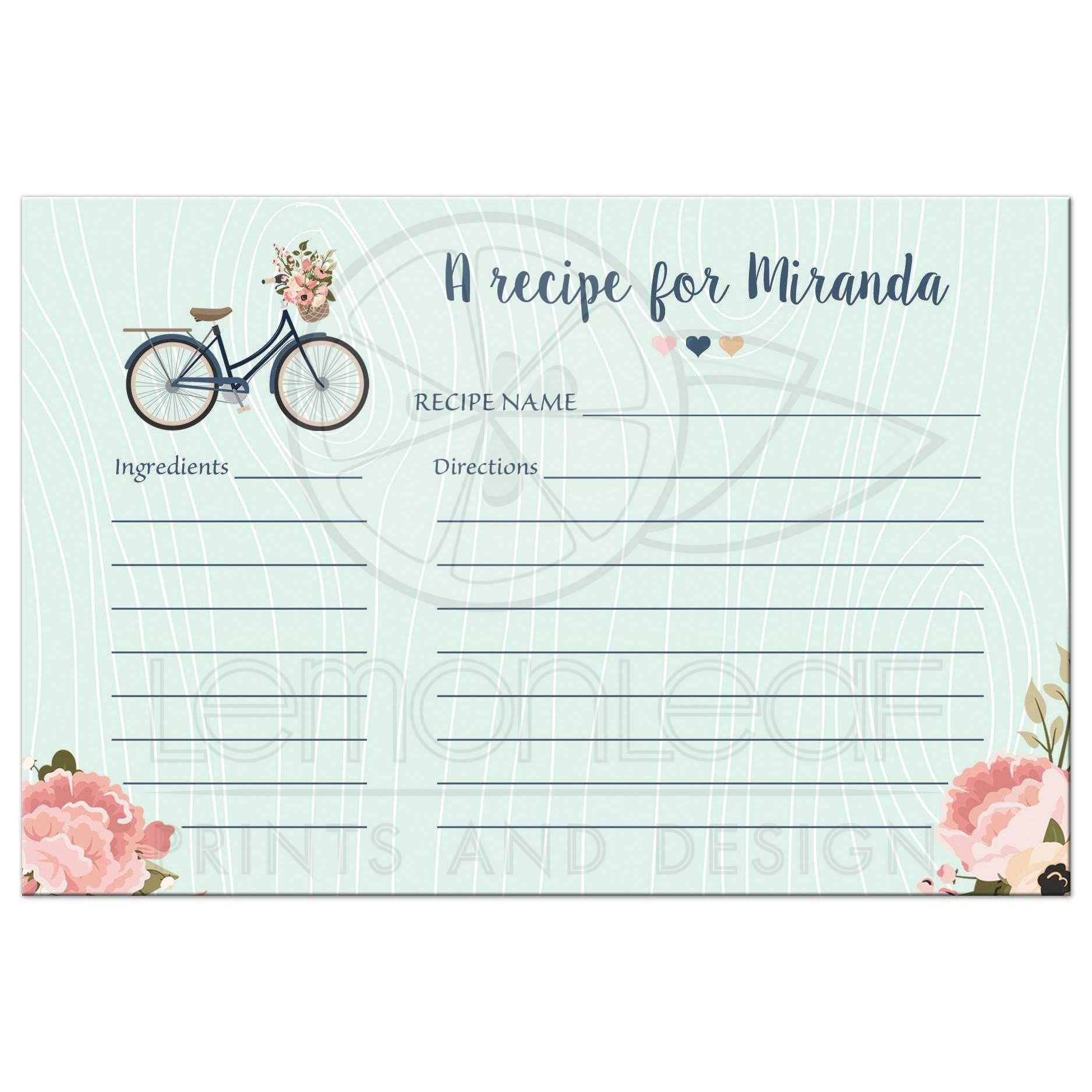 image regarding Free Printable Recipe Cards for Bridal Shower called Bridal Shower Recipe Card - Blush and Armed forces Floral Bicycle