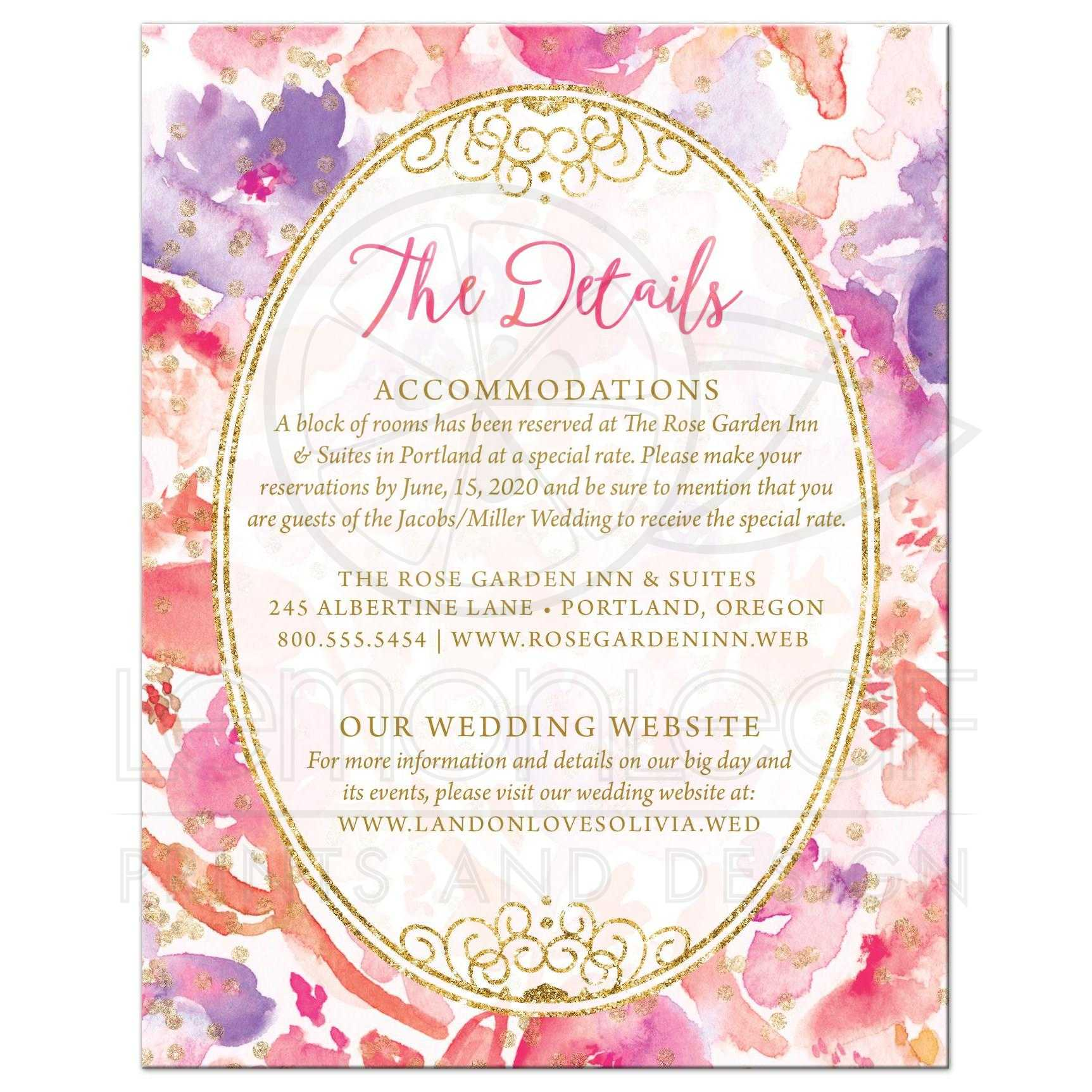 Wedding Enclosure Cards Blissful Blooms Watercolor Flowers