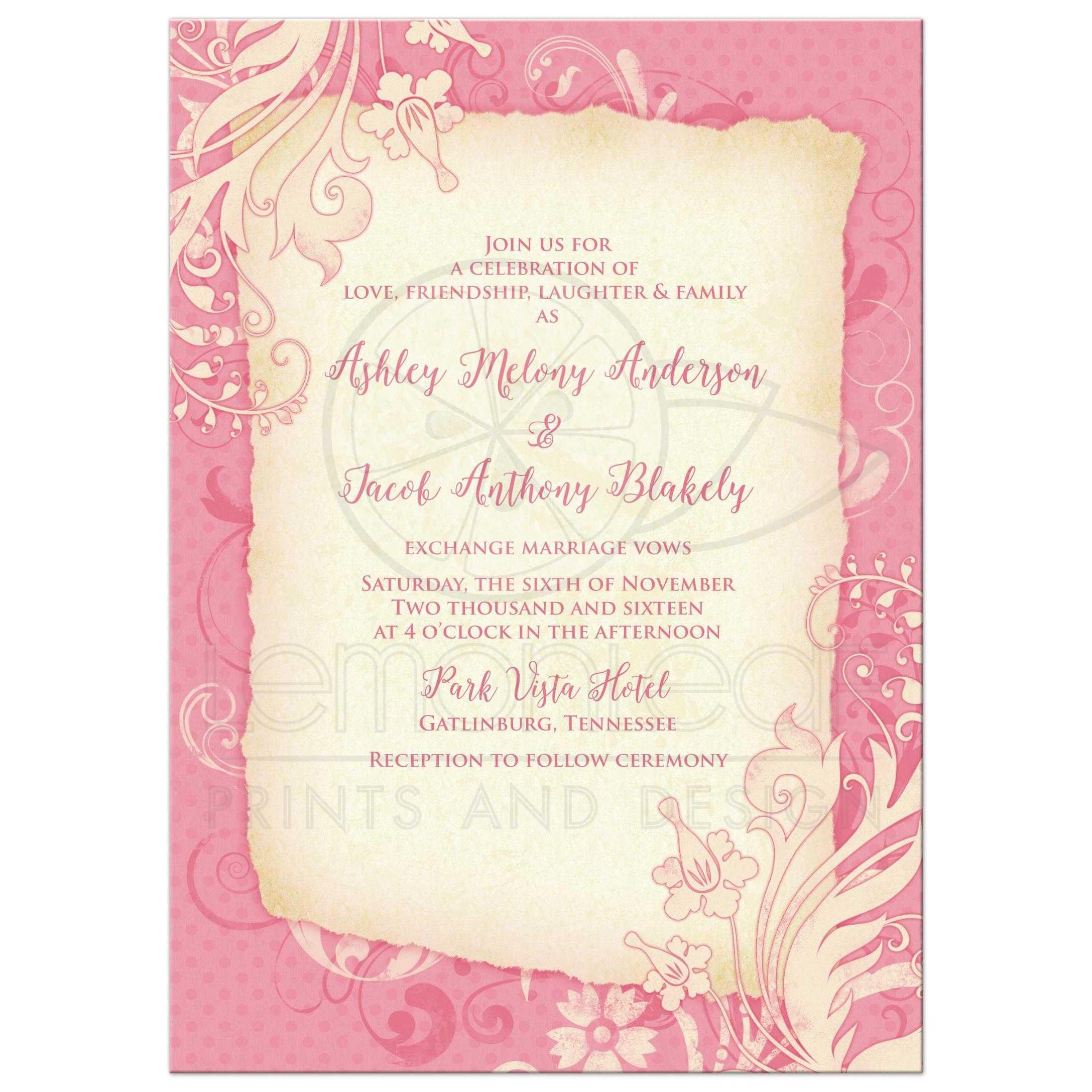 Wedding Invitation Pink Ivory Vintage Floral