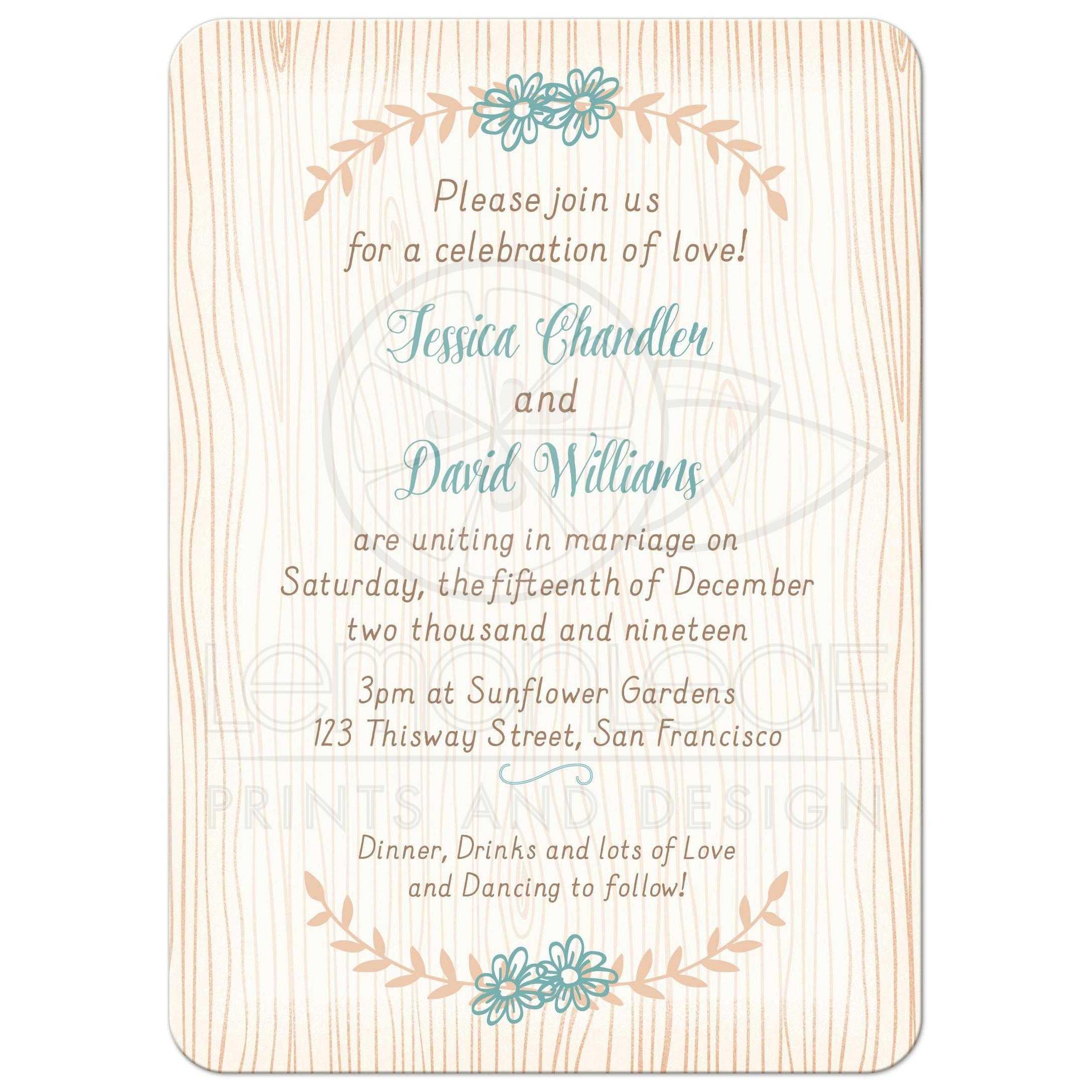 Woodgrain Boho Chic Wedding Invitation