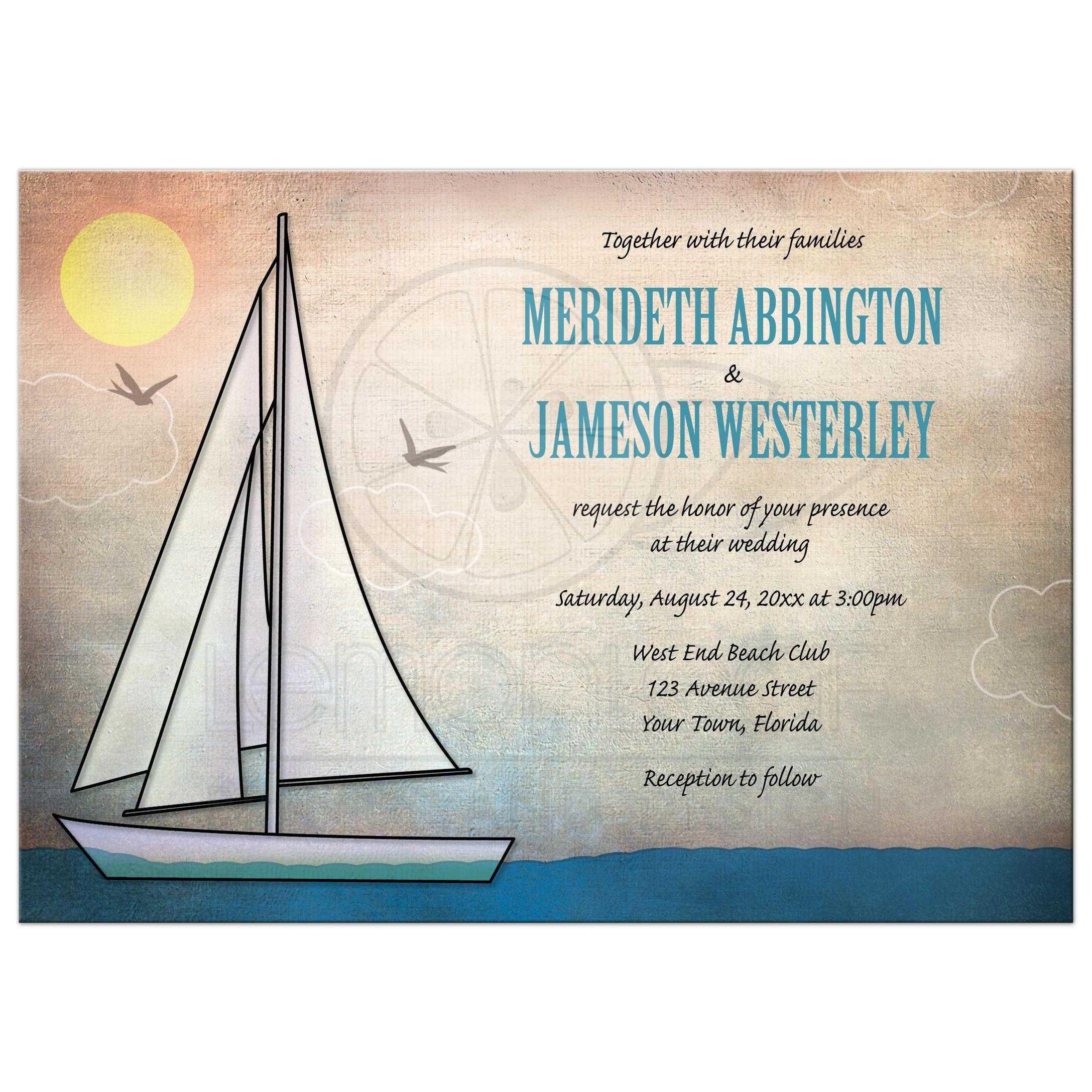 Nautical Themed Wedding Invitations: Rustic Sailboat Nautical