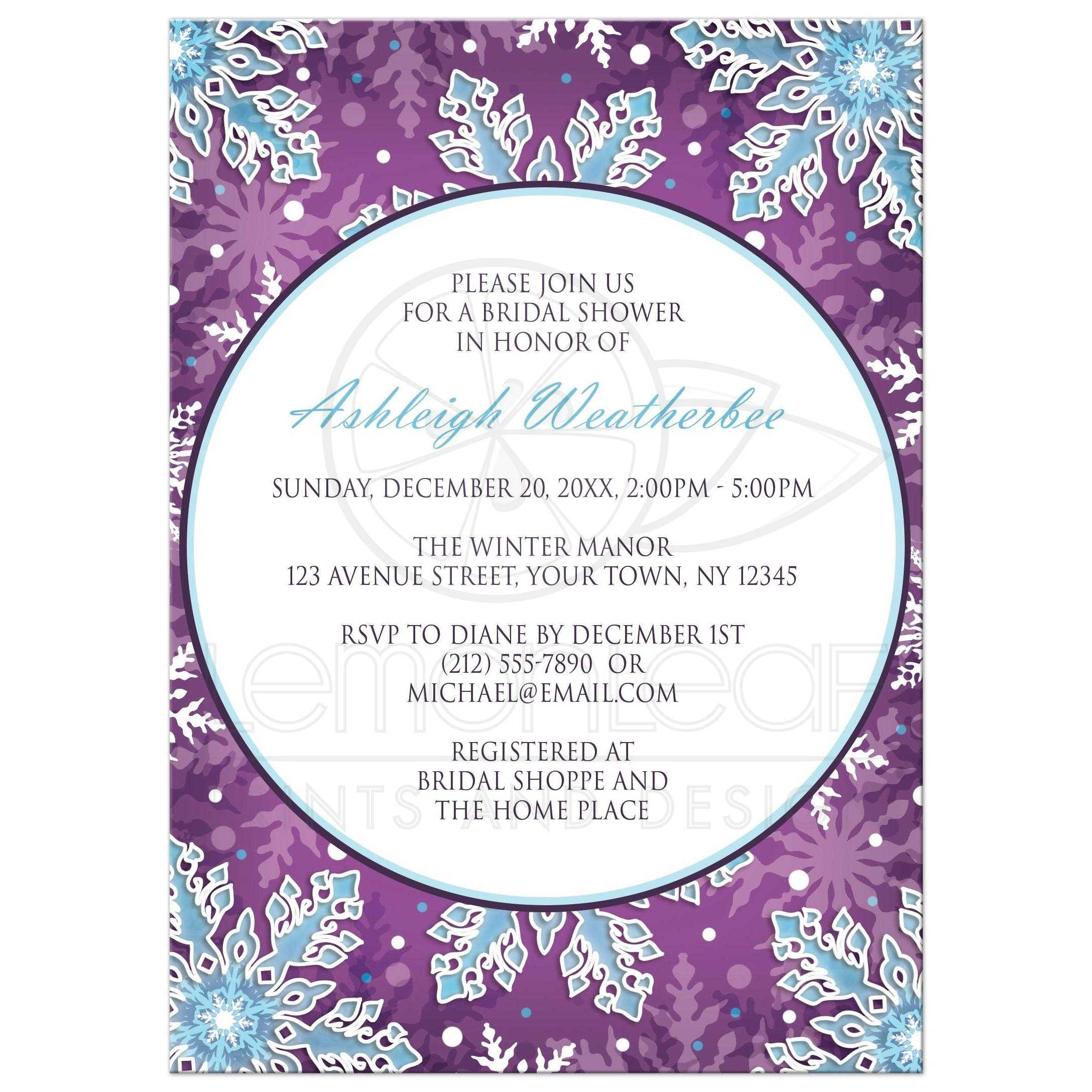 bridal shower invitations modern purple blue snowflake