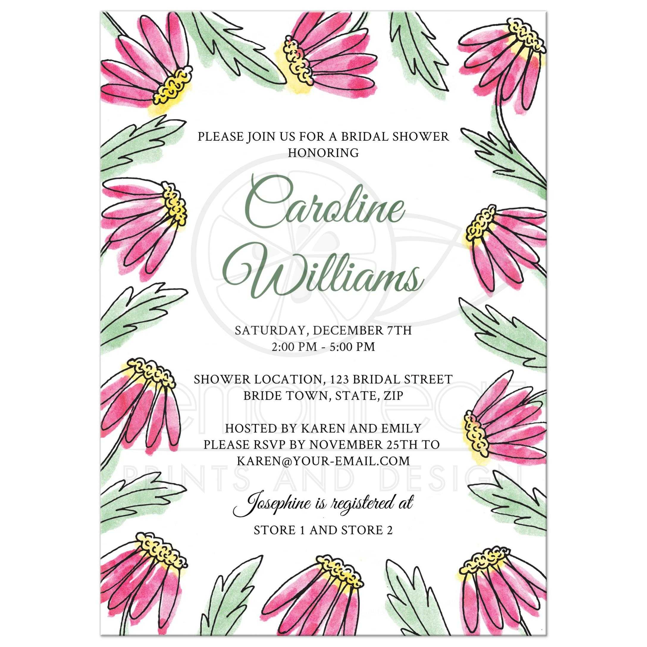 Garden bridal shower invitation with pretty pink water color flowers garden bridal shower invite with pretty pink daisy flower border filmwisefo