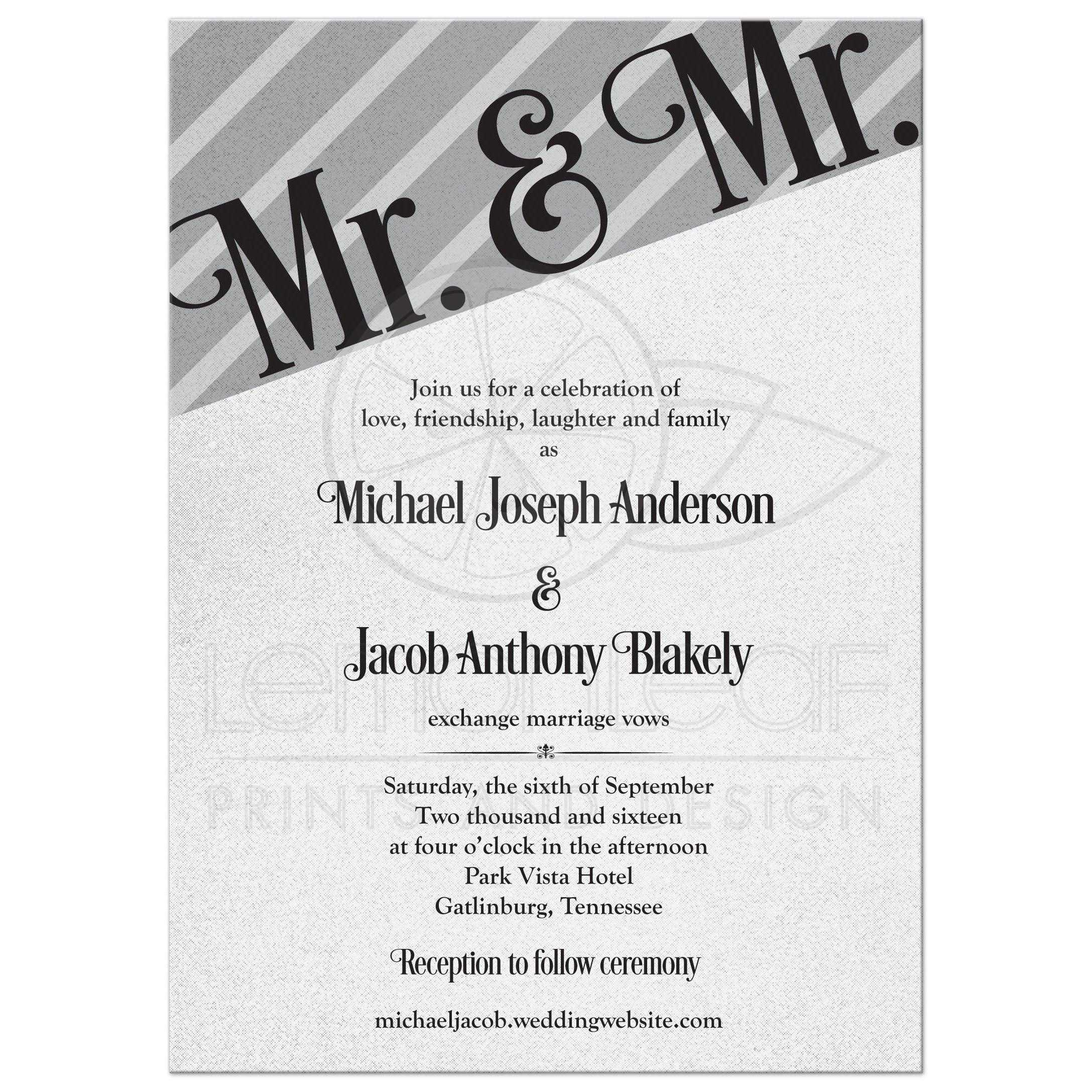 Silver grey (gray) and black Mr and Mr gay wedding invitation. This geometric style gay wedding invitation is elegant and modern. This is a great wedding invita