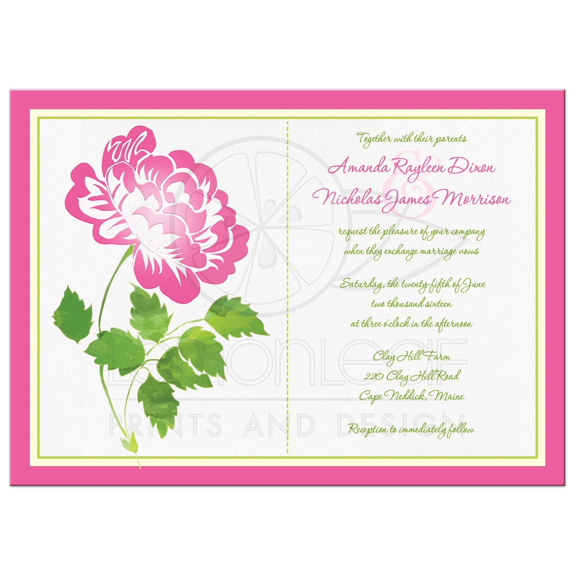 Wedding Invitation Pink Green Ivory And White Floral