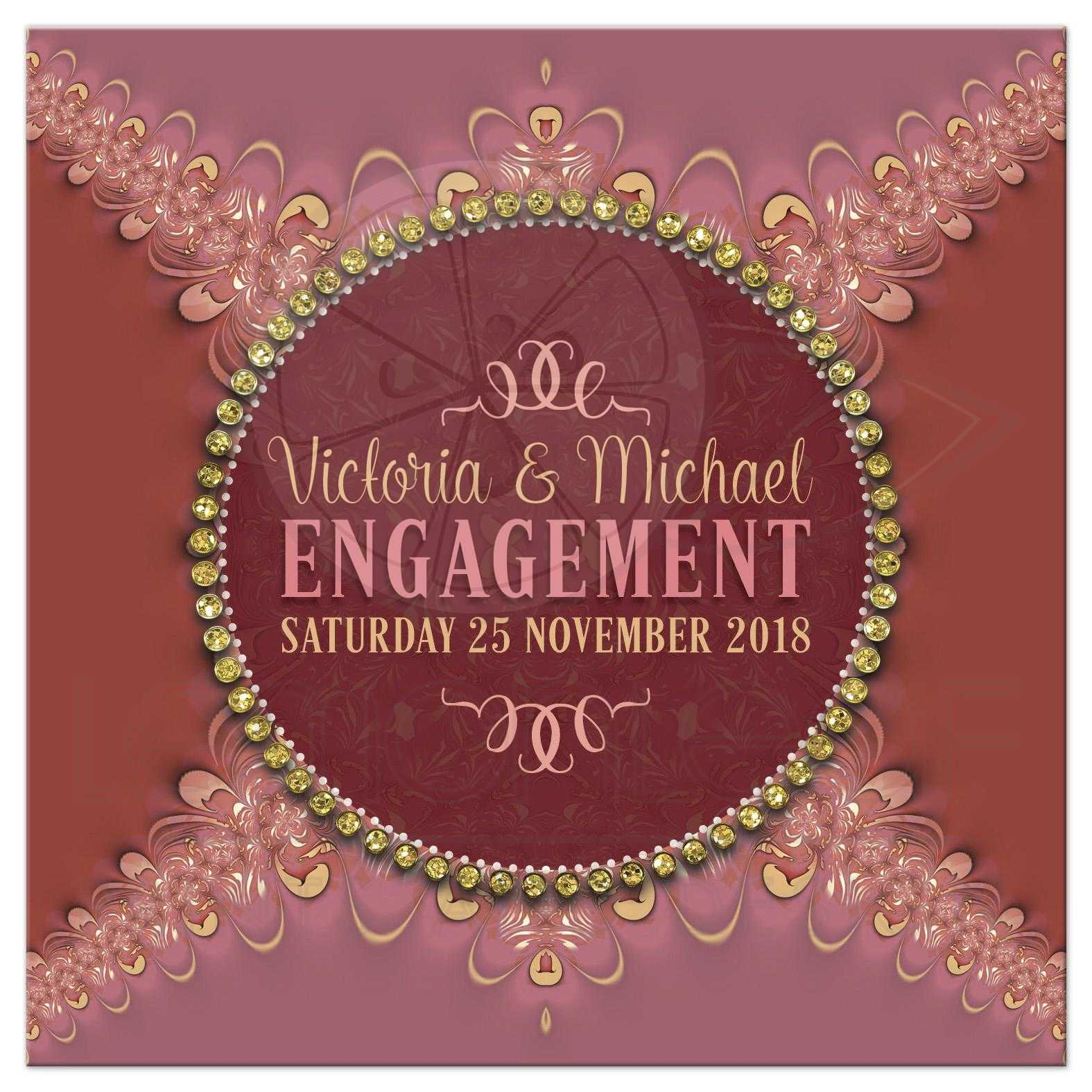 Terracotta & Pink Earth Royale Engagement Invitation