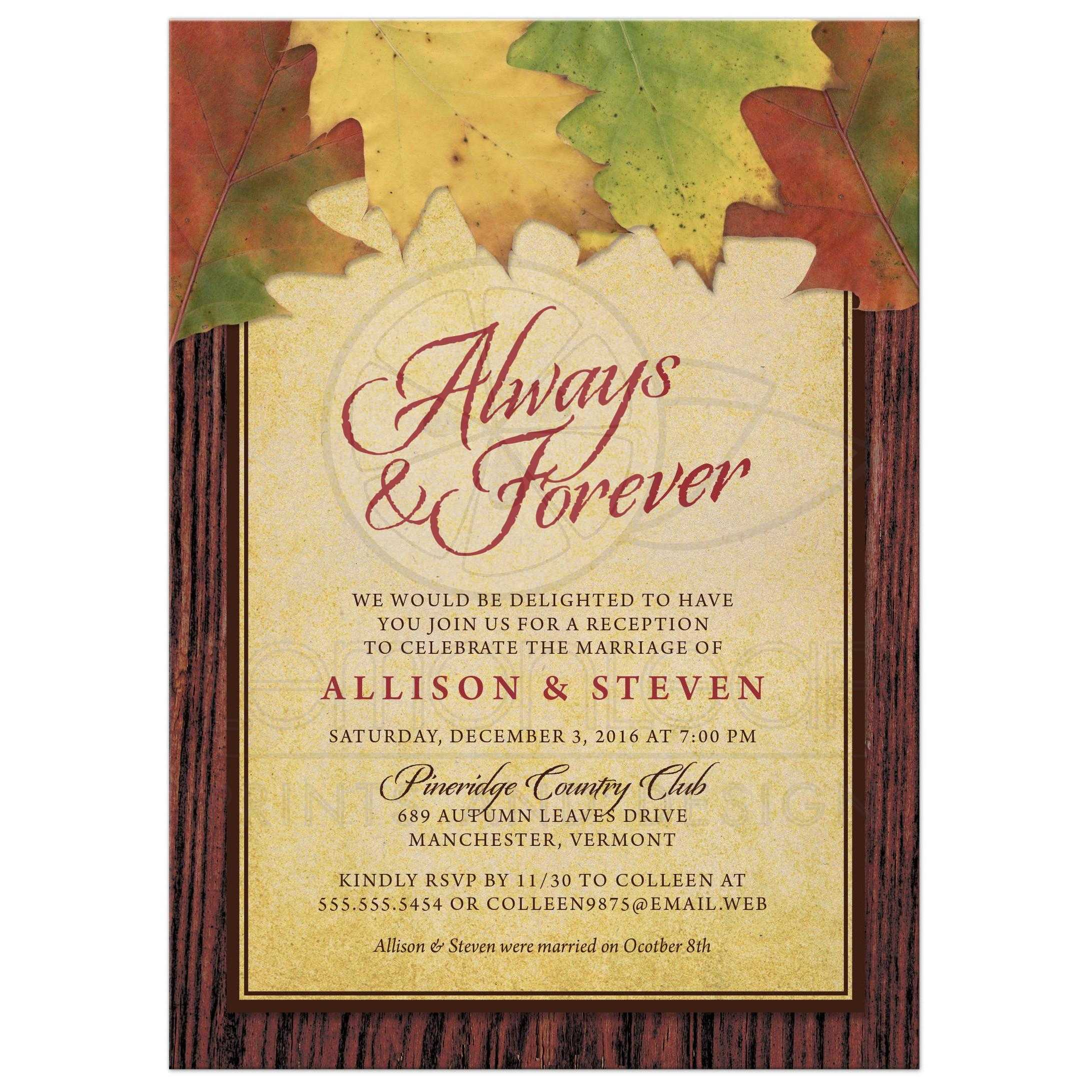 Rustic Autumn Leaves Post Wedding Reception Only Invitations Front ...