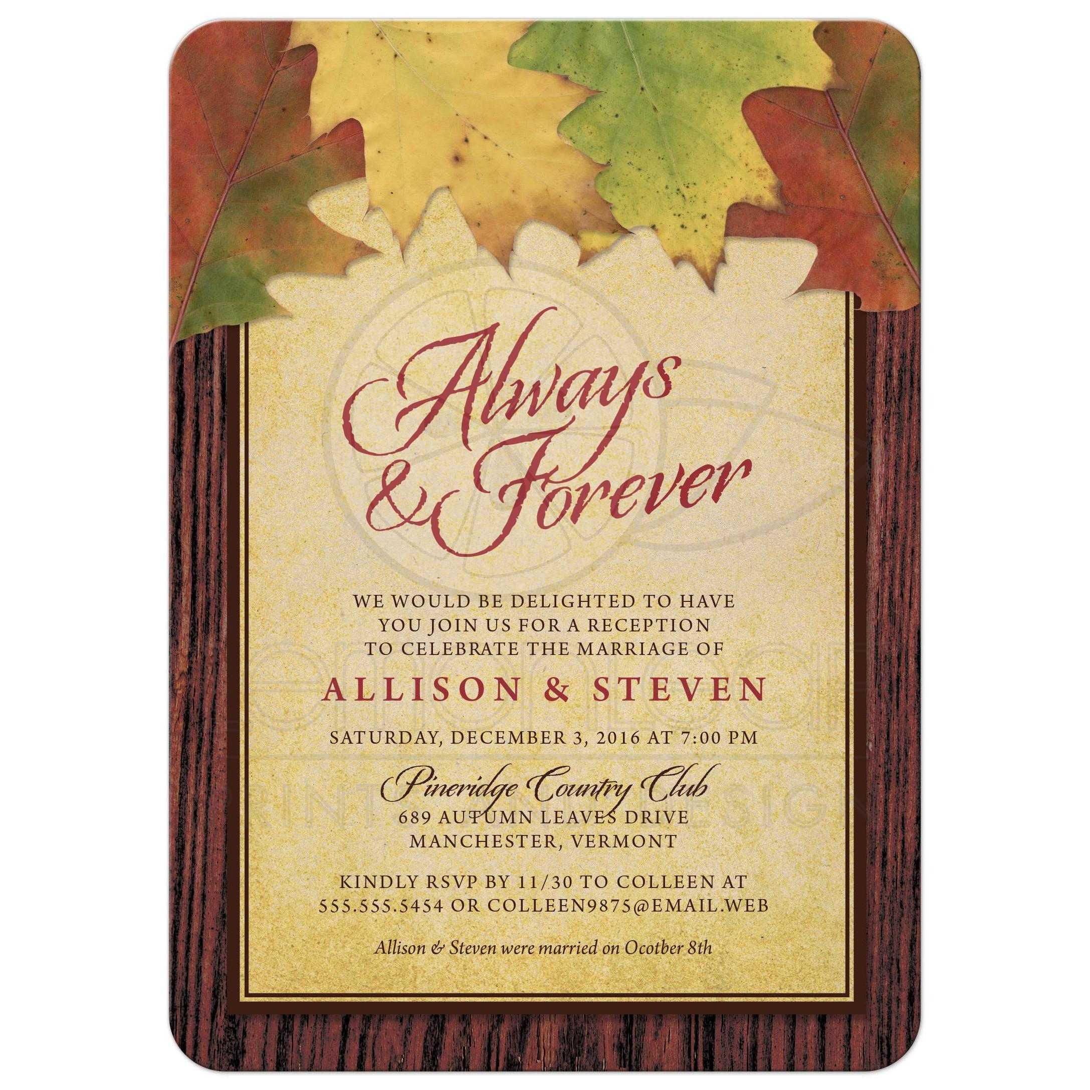 post-wedding reception only invitations - rustic autumn leaves, Wedding invitations