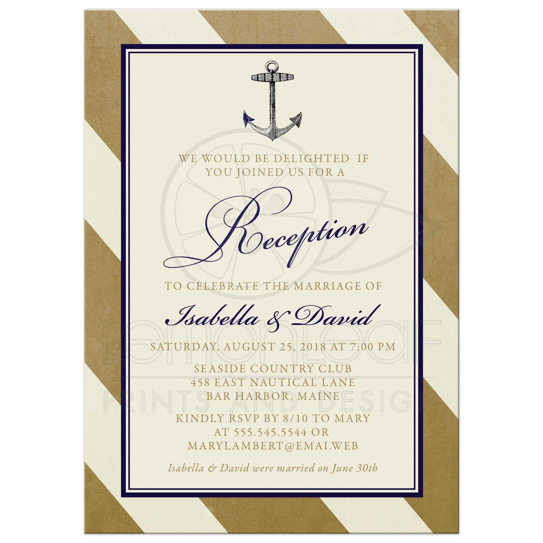 Post Wedding Reception Only Invitations Elegant Nautical Gold Stripes