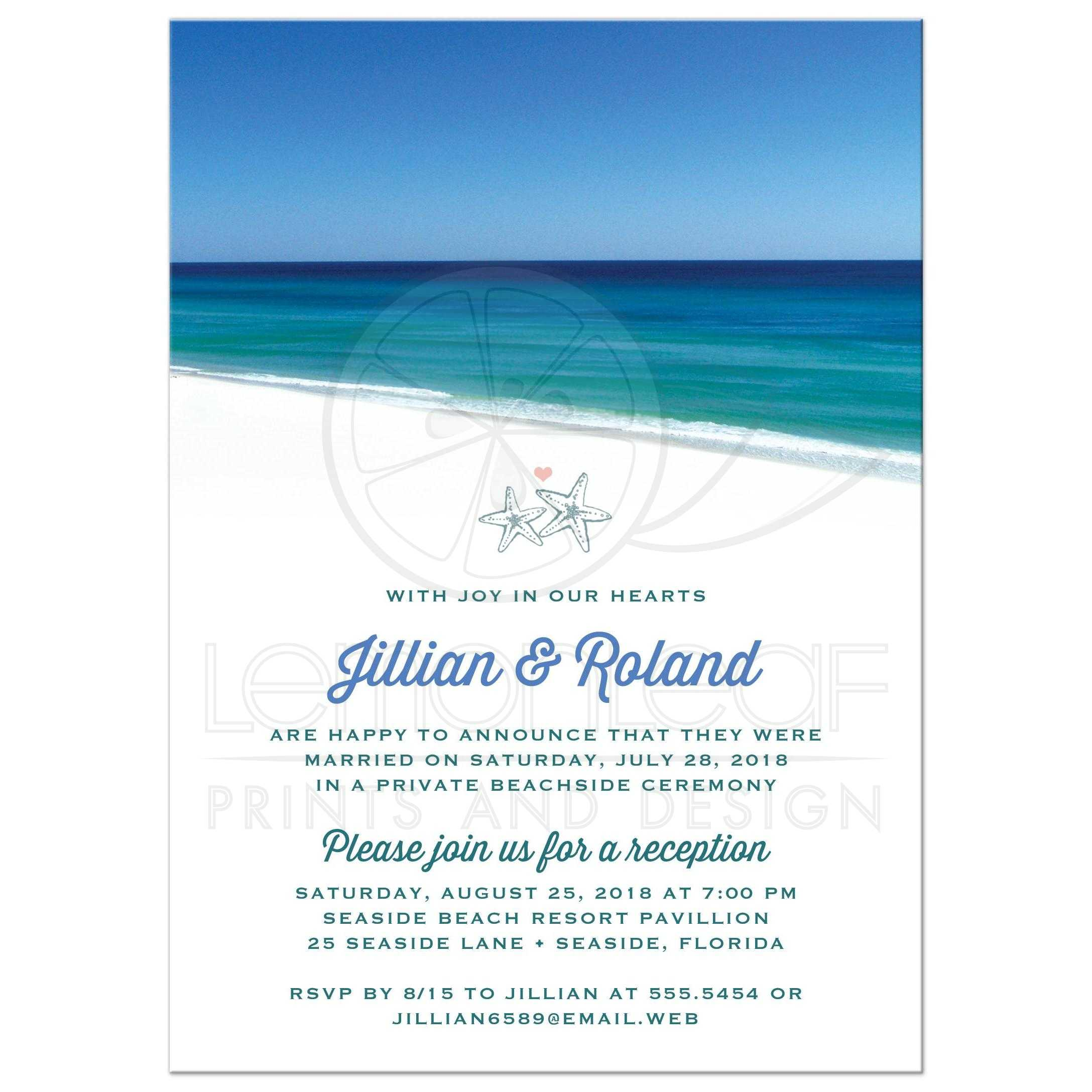 Post Wedding Reception Only Invitations Beautiful Beach Scene