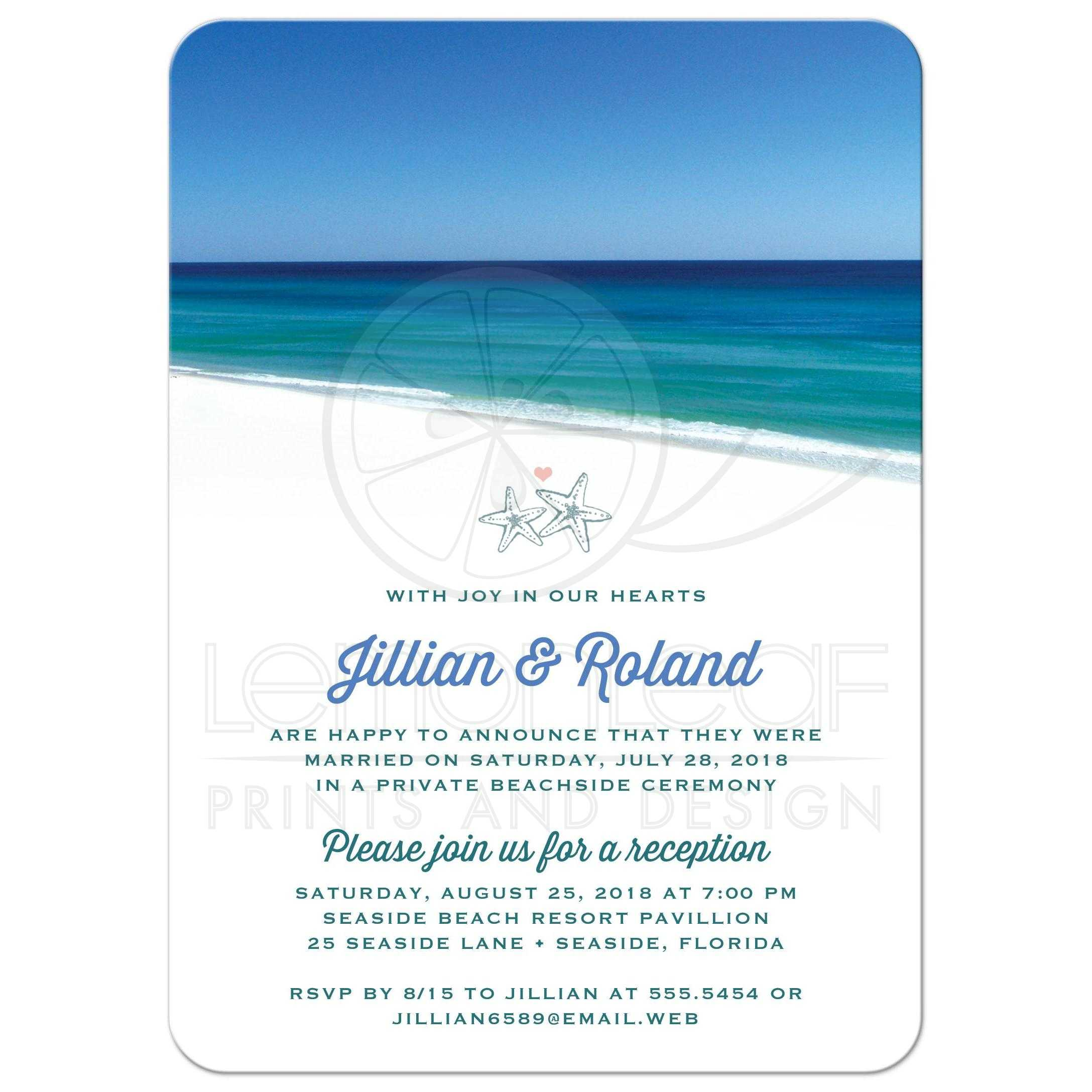post wedding reception only invitations - beautiful beach scene, Wedding invitations