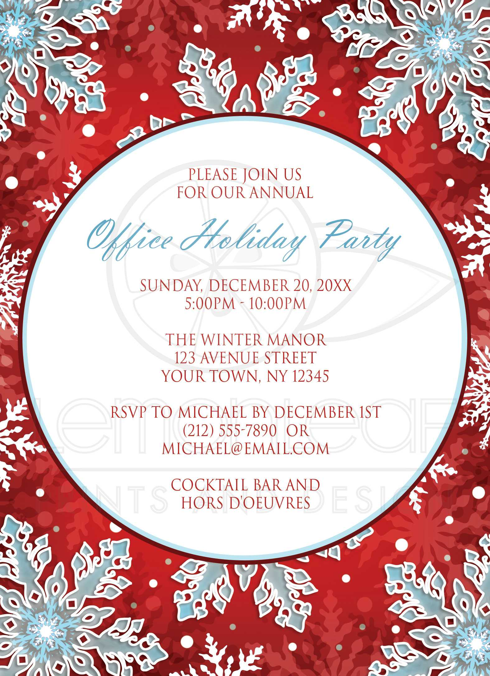 holiday party invitations modern red white blue snowflake