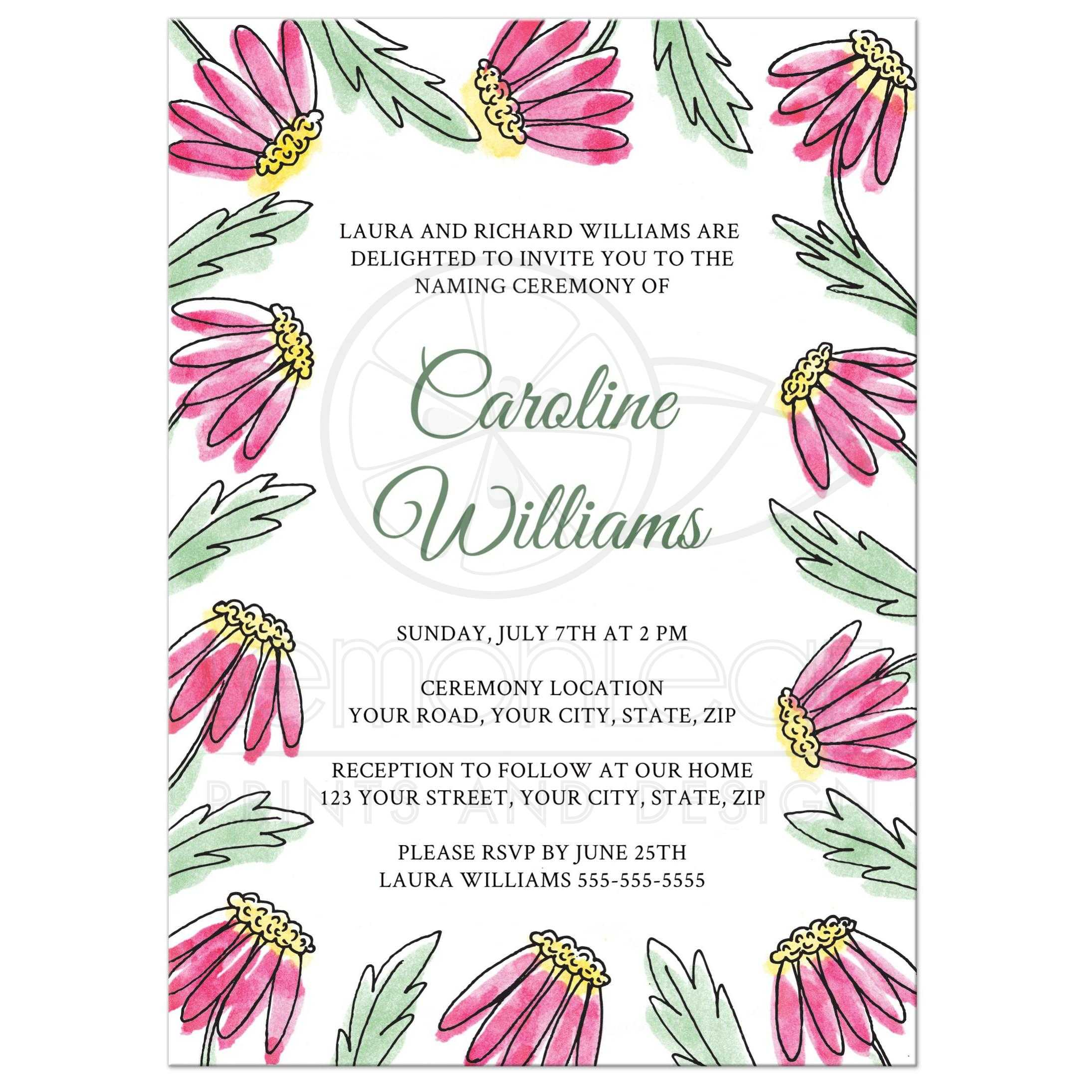 Pretty Daisies Floral Border Name Giving Or Naming Ceremony Invite ...