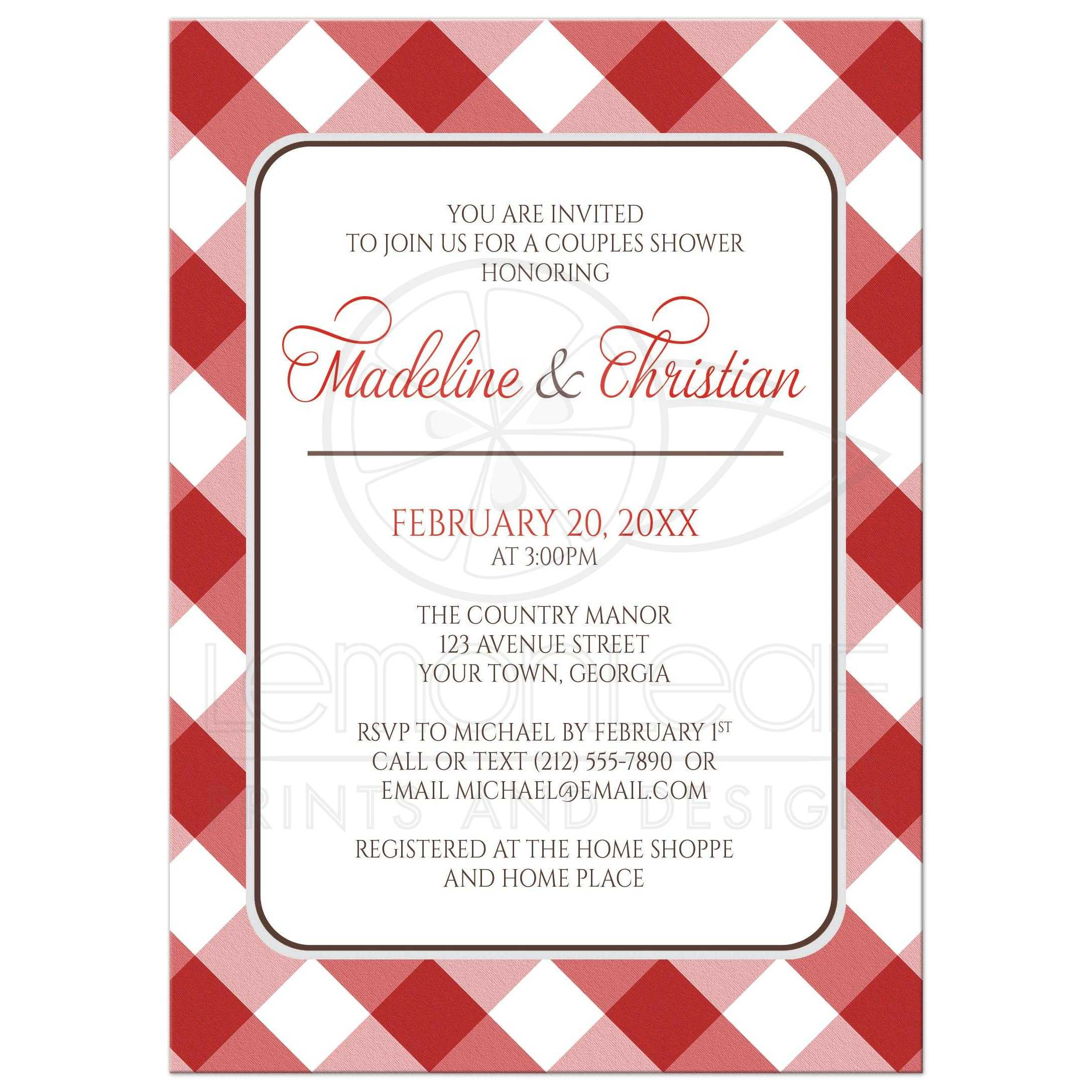 Couples Shower Invitations Red Gingham Country