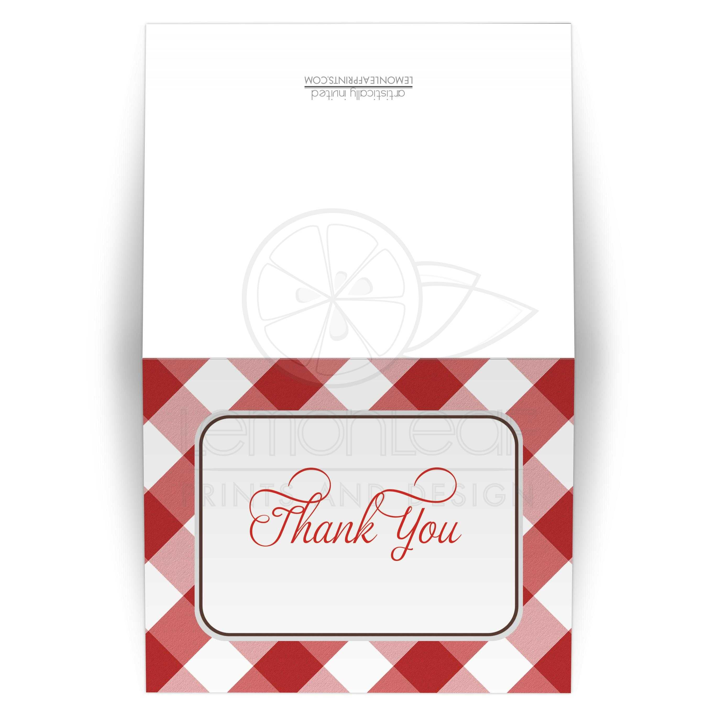 Thank You Cards Red Gingham Country