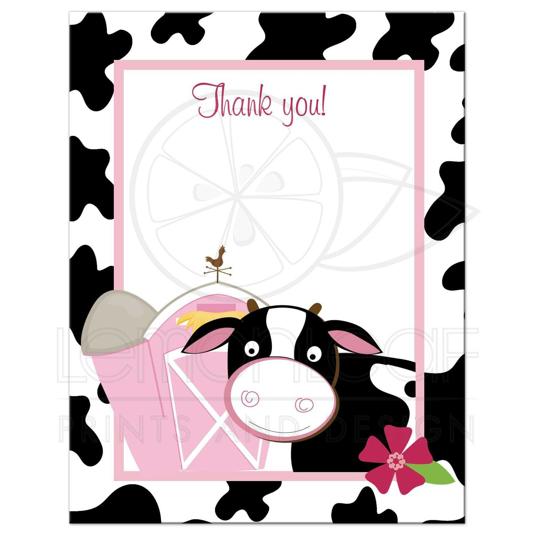 pink cow farm flat thank you note card - Thank You Note Cards