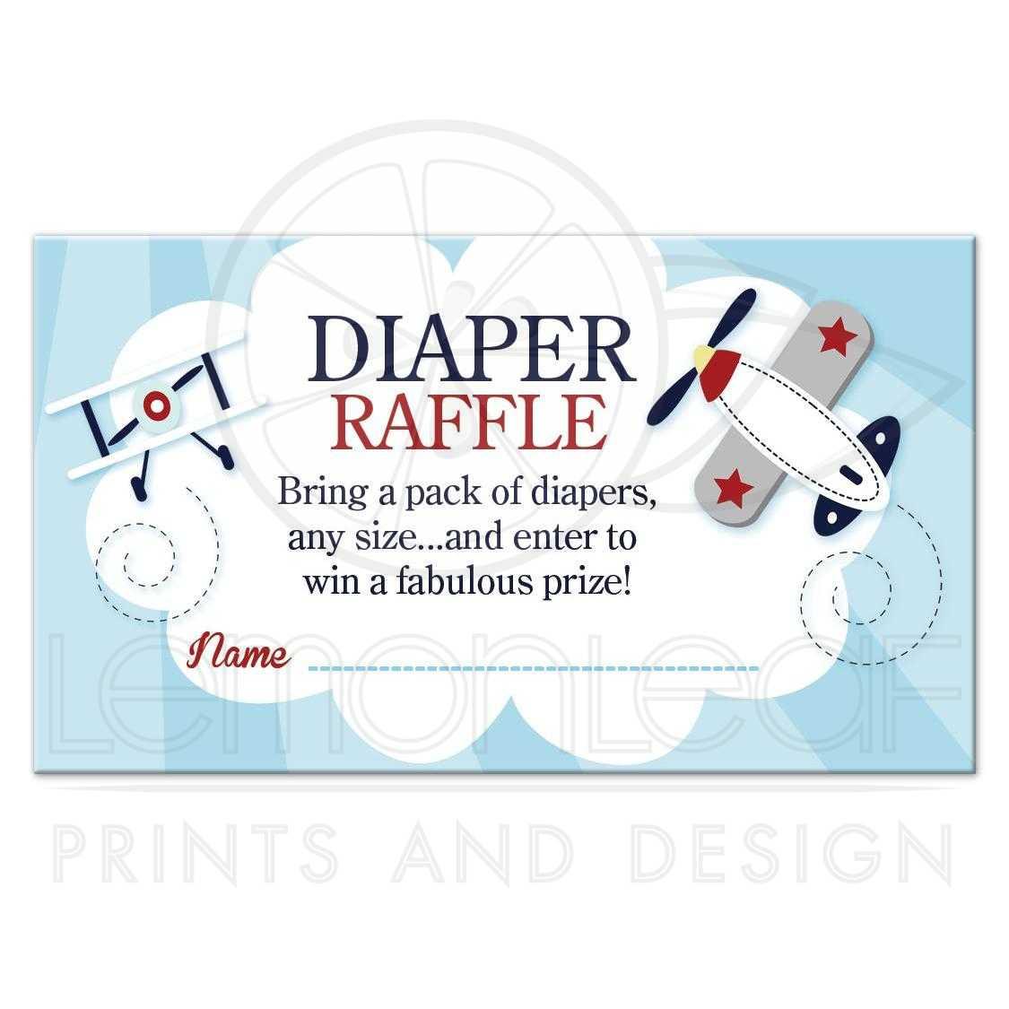 Little Aviator Airplane Boy Baby Shower Diaper Raffle Card