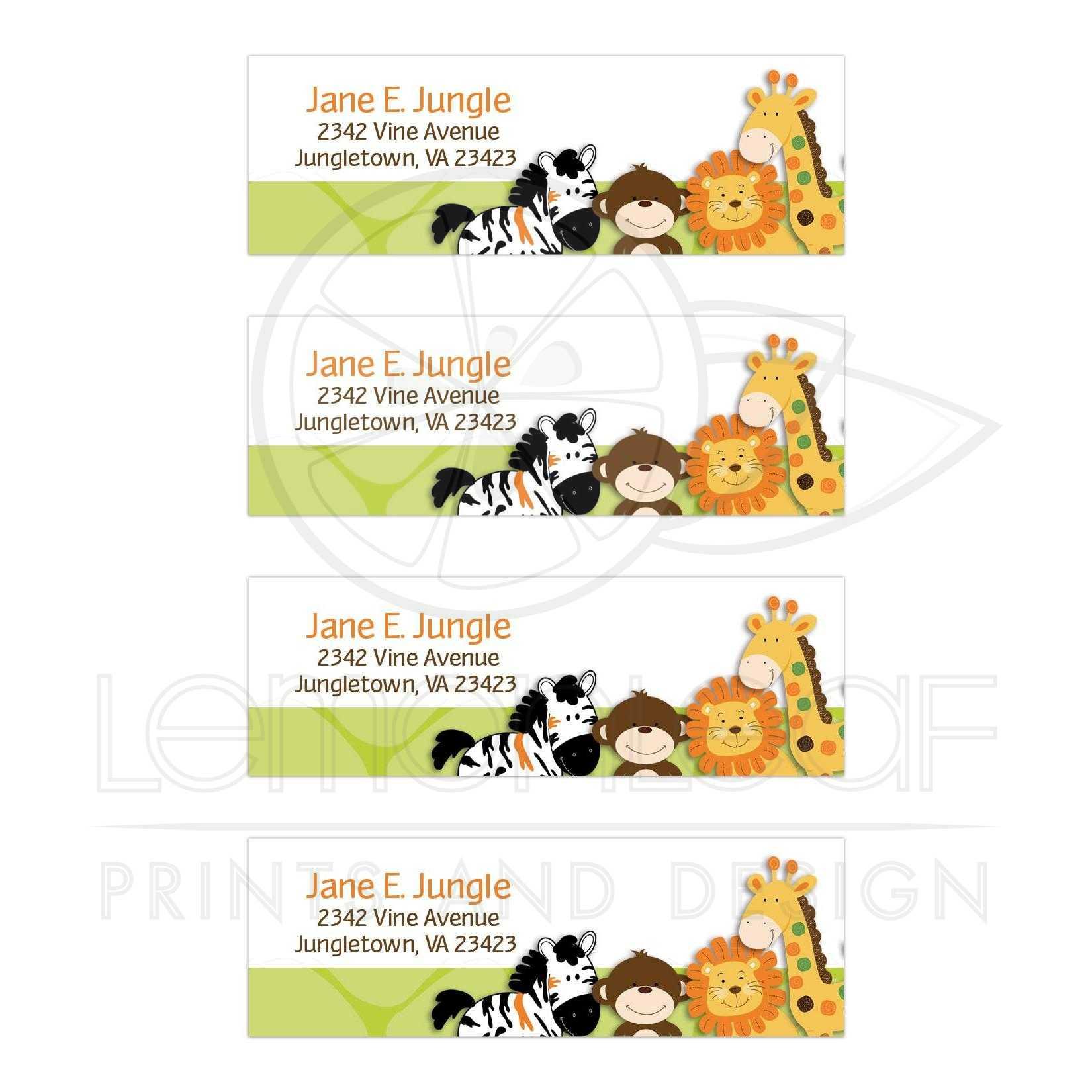 Bright Jungle Safari Return Address Mailing Labels