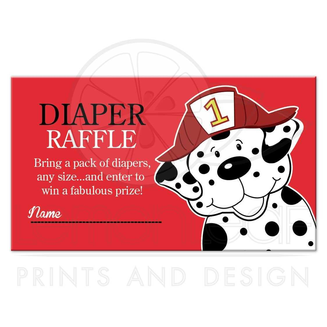 Dalmatian Firetruck Boy Baby Shower Diaper Raffle Tickets ...
