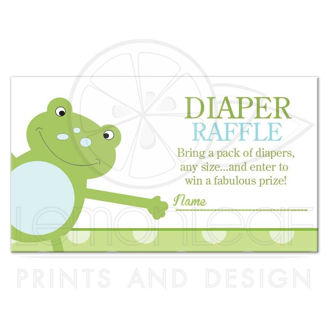 Green Leap Frog Baby Shower Diaper Raffle Tickets