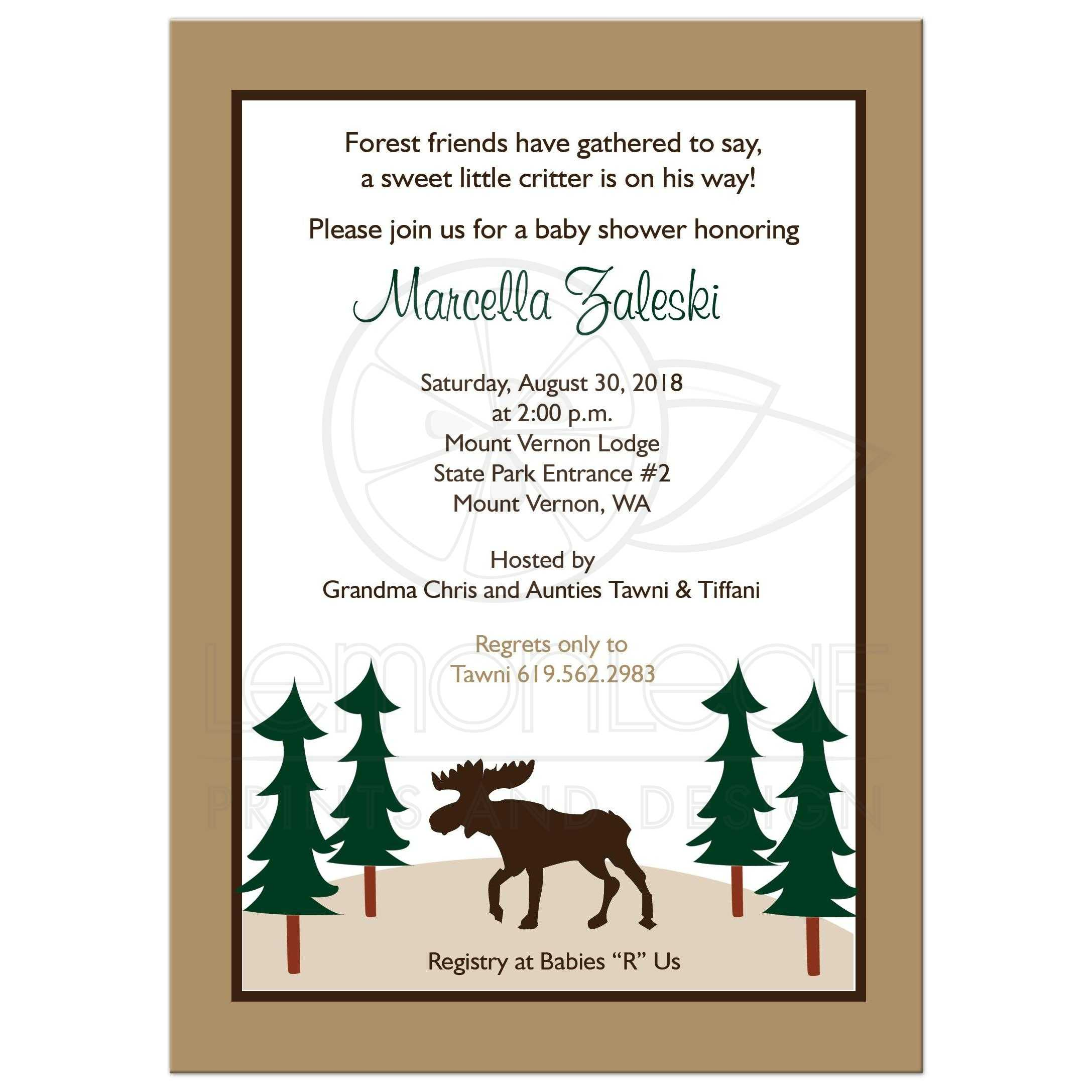 Rustic Moose Customized Baby Shower Invitations