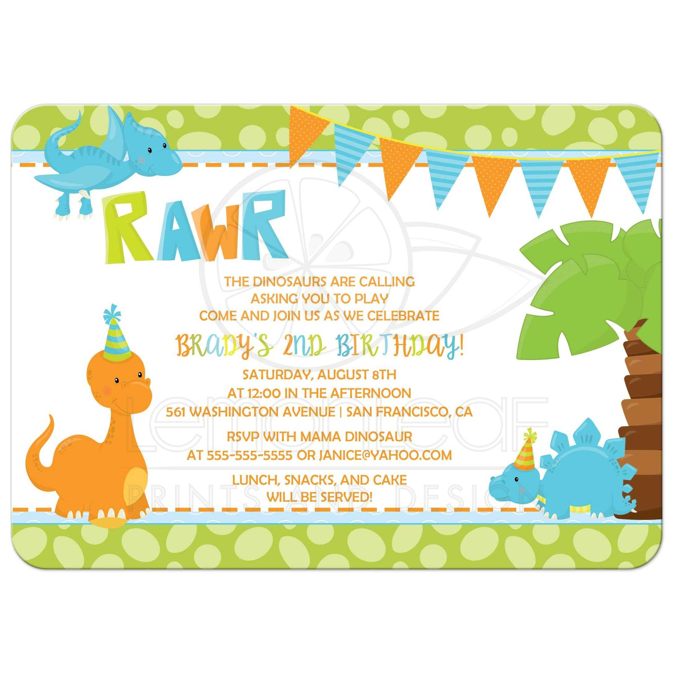 Birthday Party Invitation - Boy Dinosaur in Orange, Blue, and Green