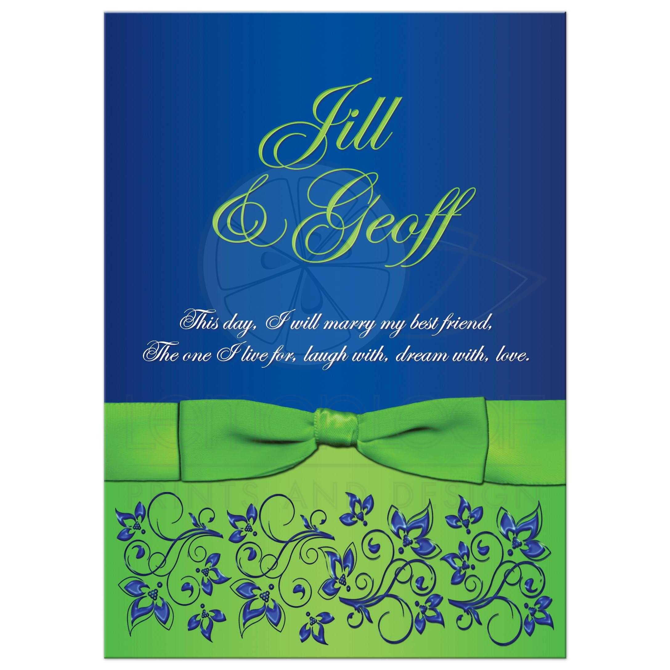 Wedding invitation royal blue lime green white floral for Lime and blue