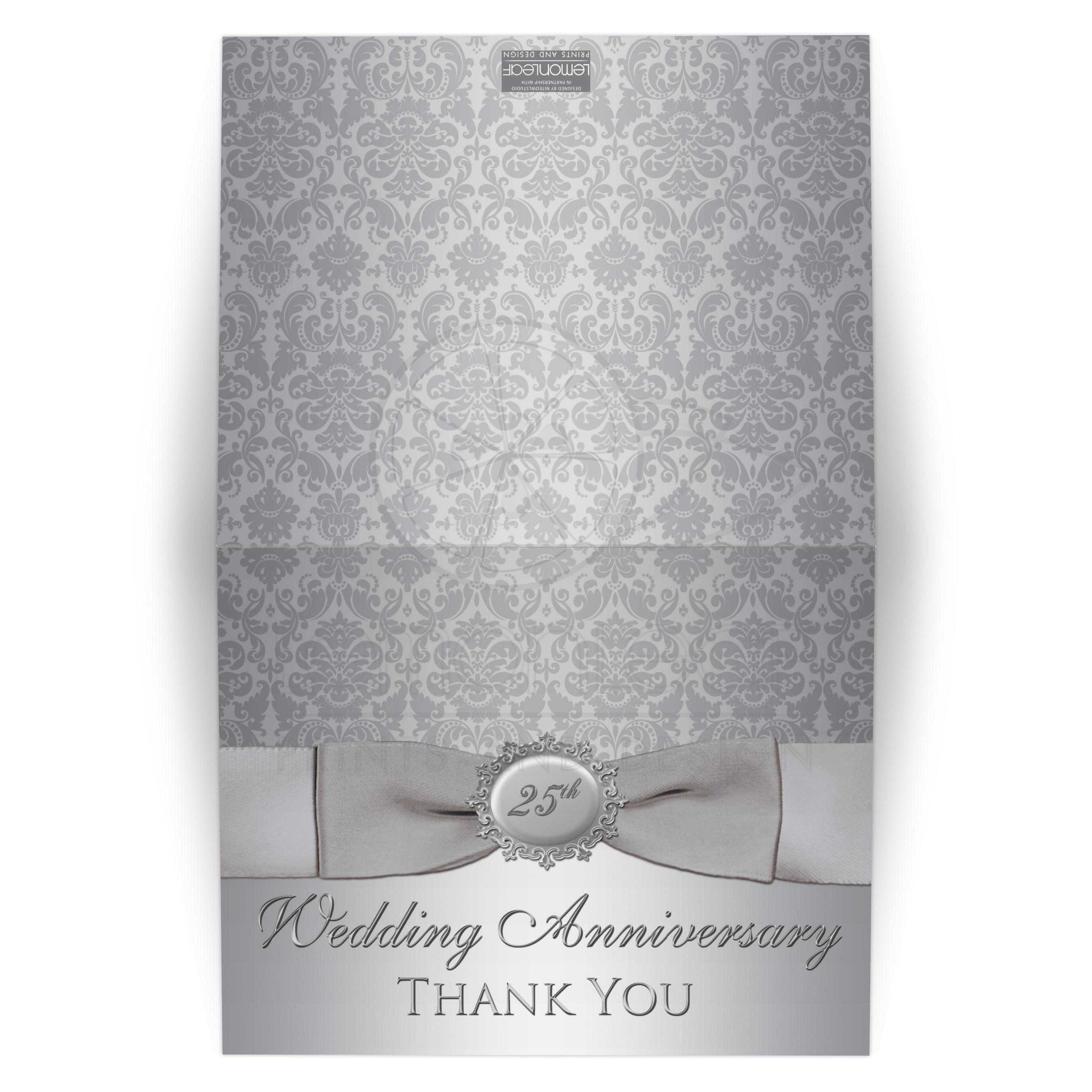 25th Anniversary Thank You Card Silver Gray Damask Printed