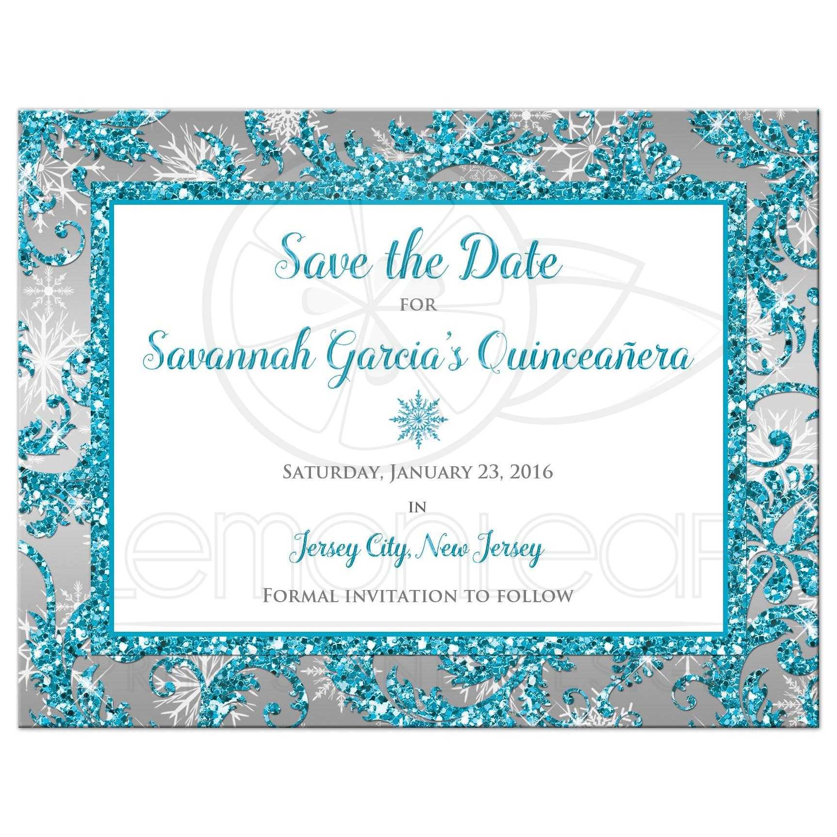 Quinceañera Save the Date Card | Winter Wonderland Turquoise ...