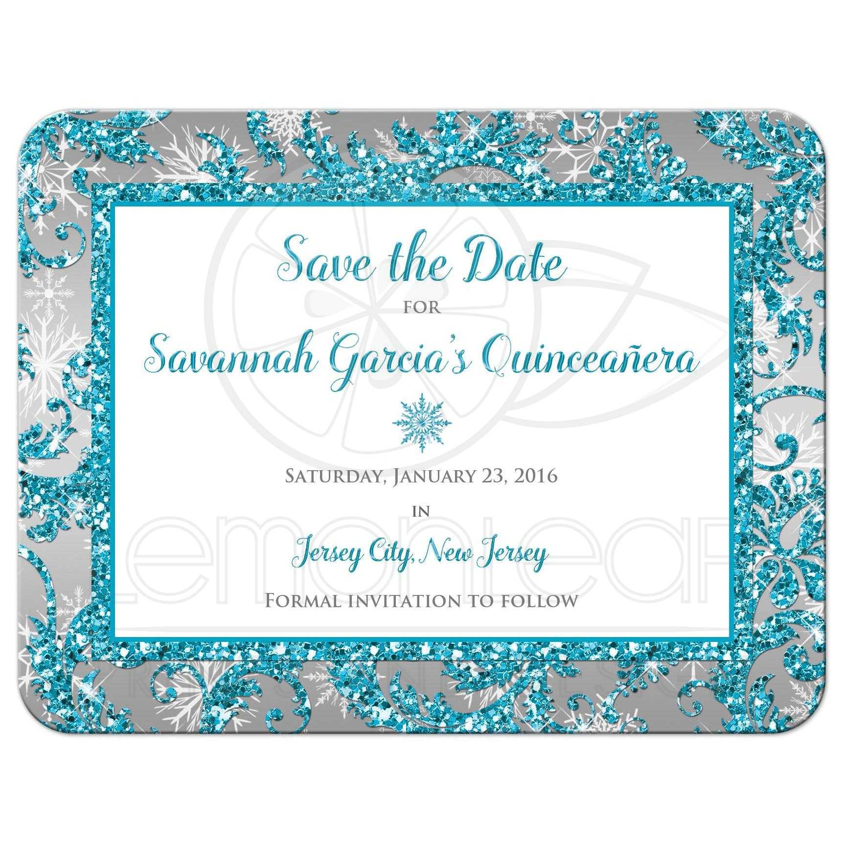 Quinceaera Save the Date Card Winter Wonderland Turquoise