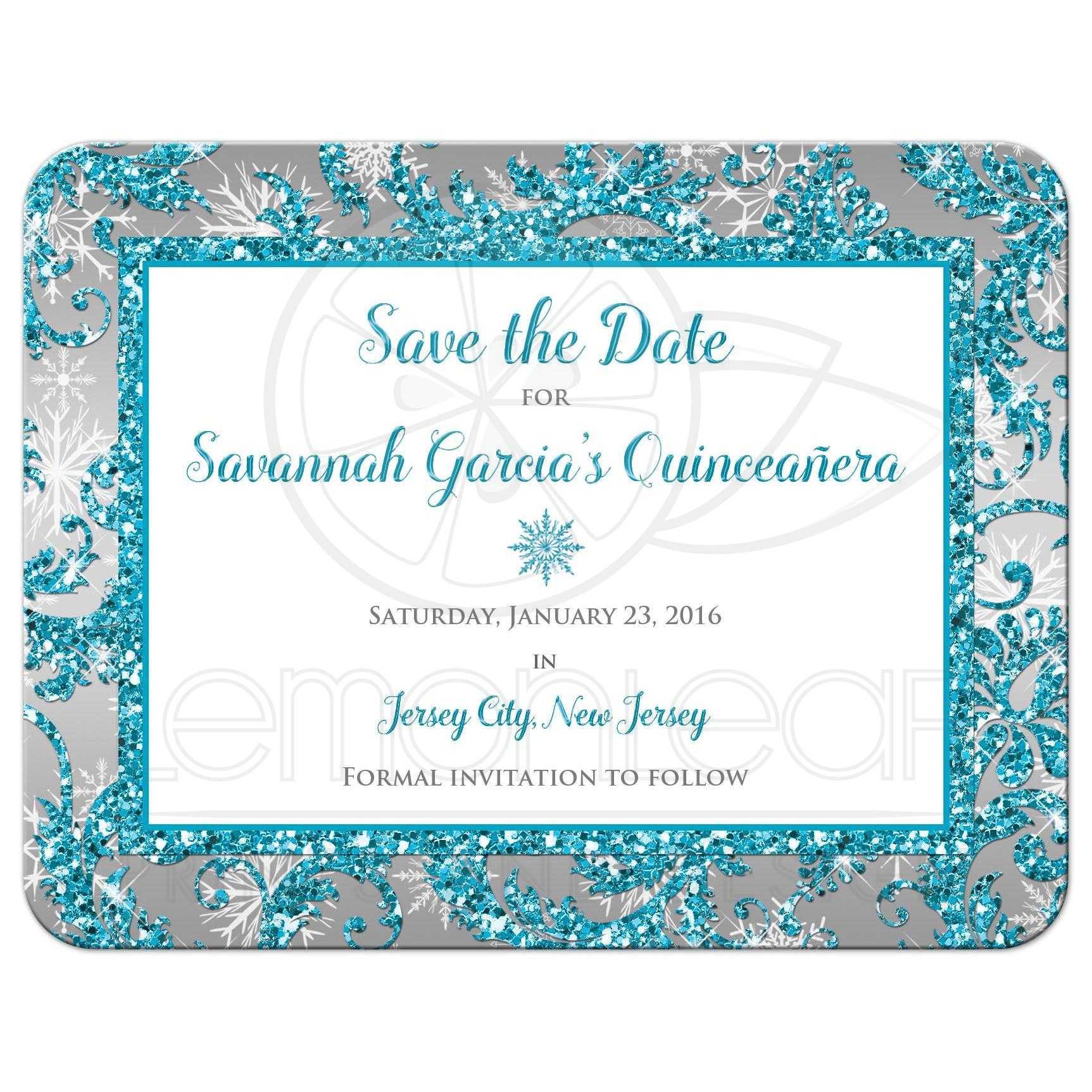 Quinceañera Save the Date Card | Winter Wonderland ...