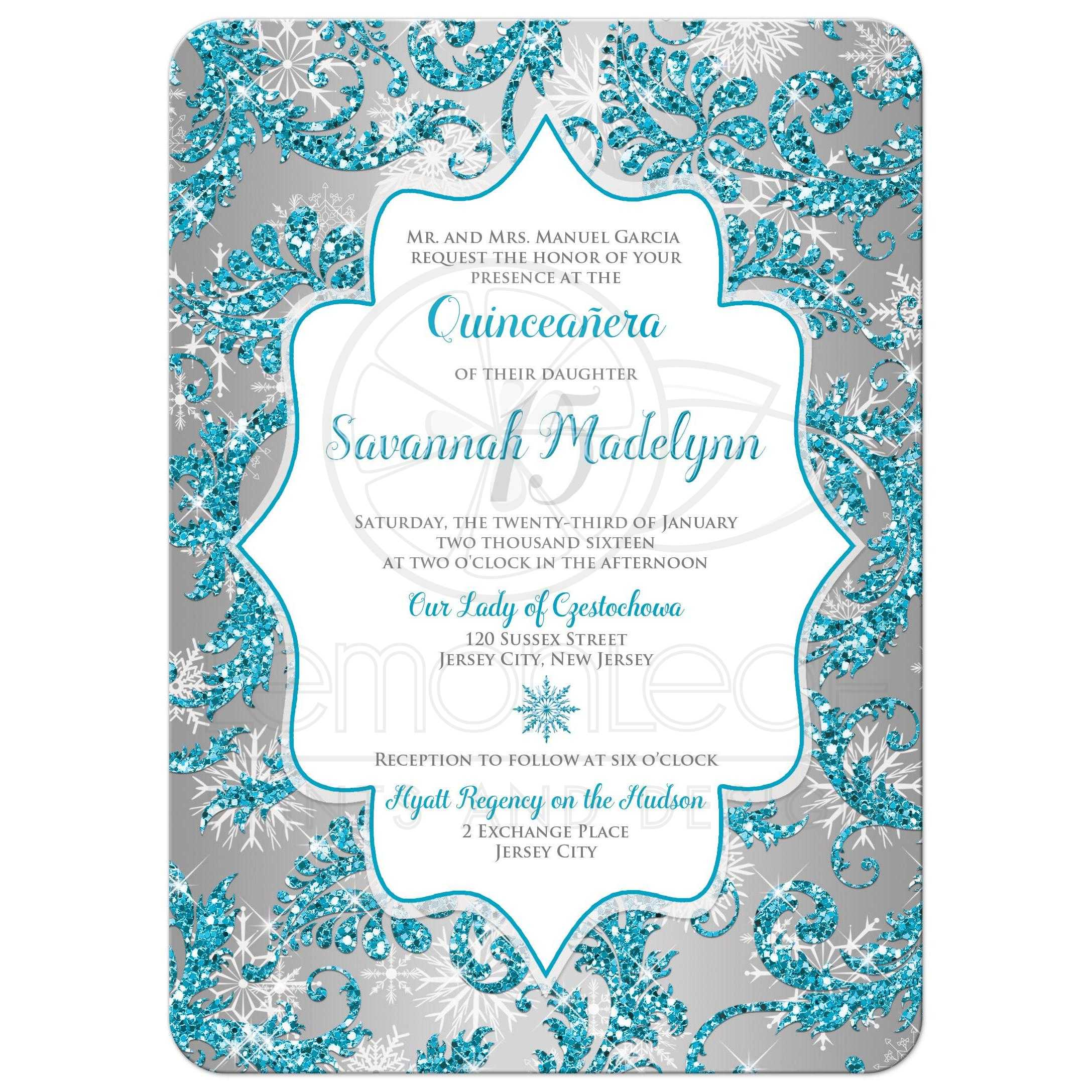 quinceañera invitation   winter wonderland turquoise, silver faux, Party invitations
