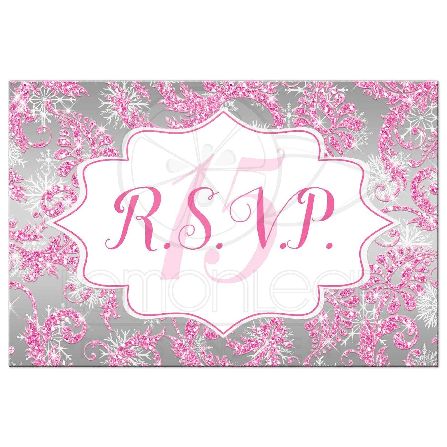Quinceanera RSVP Post Card | Winter Wonderland Ice Pink Faux ...