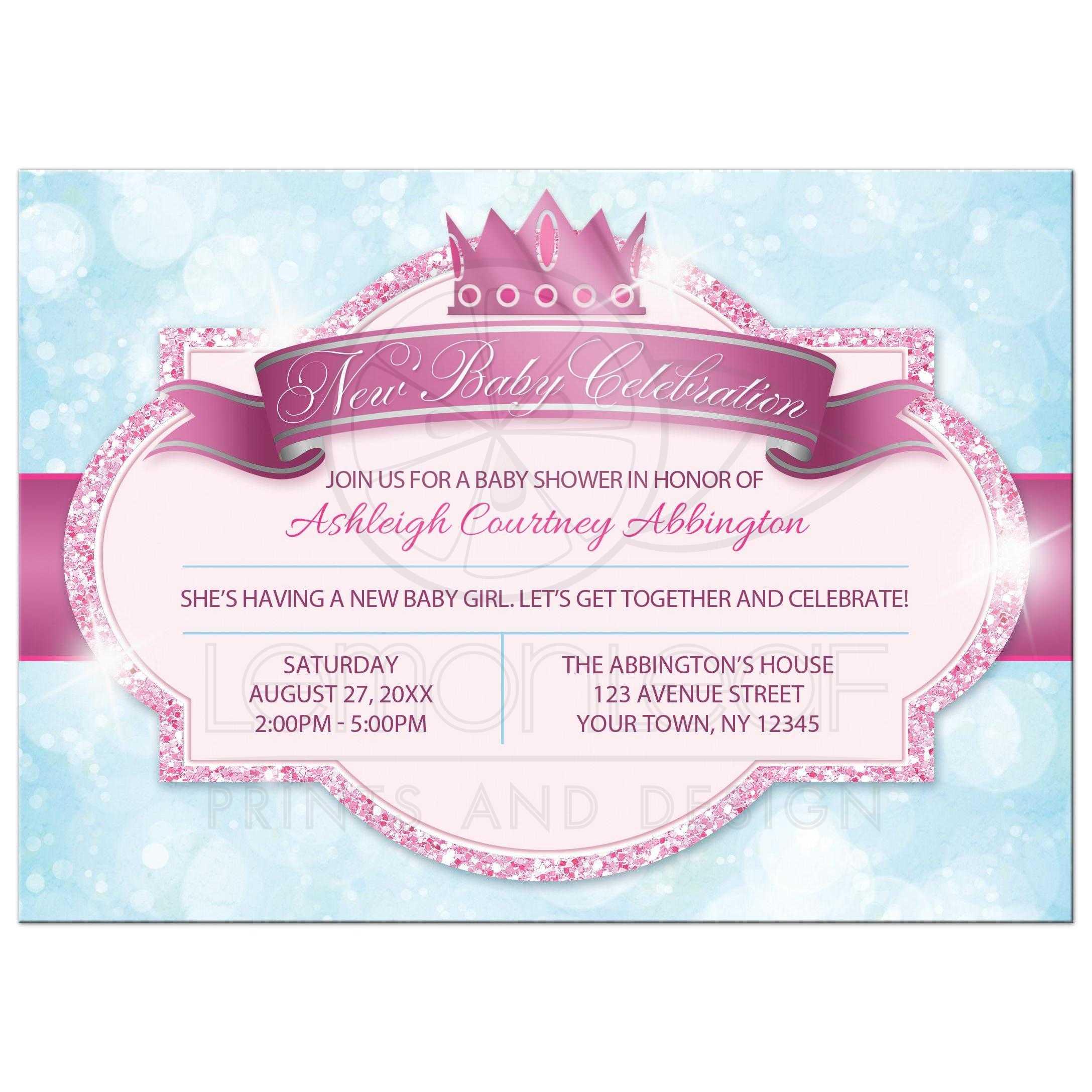 Princess Baby Shower Invitations   Royal Princess Pink Glitter Blue Girls  FRONT ...