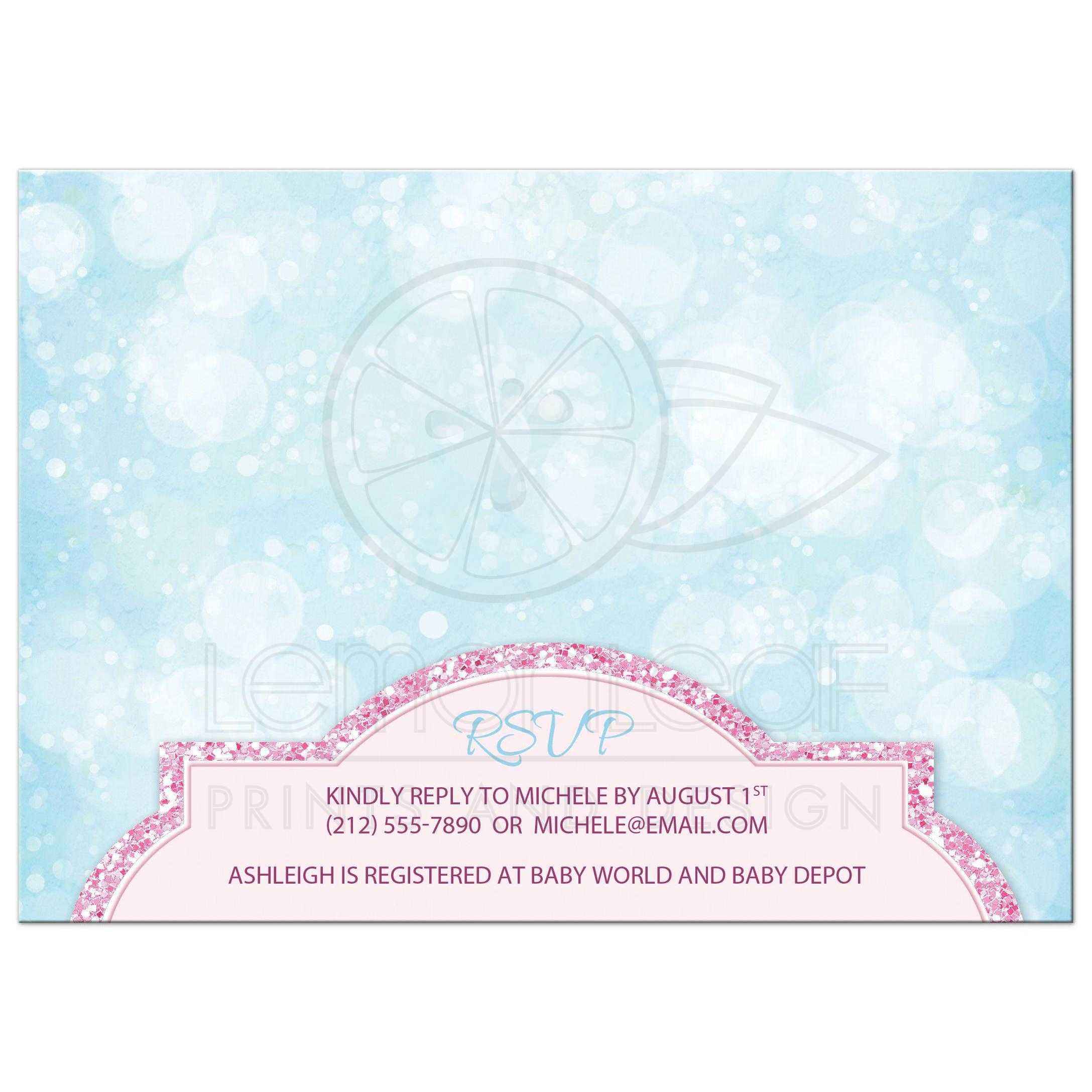 Princess Baby Shower Invitations Royal Pink Glitter Blue S
