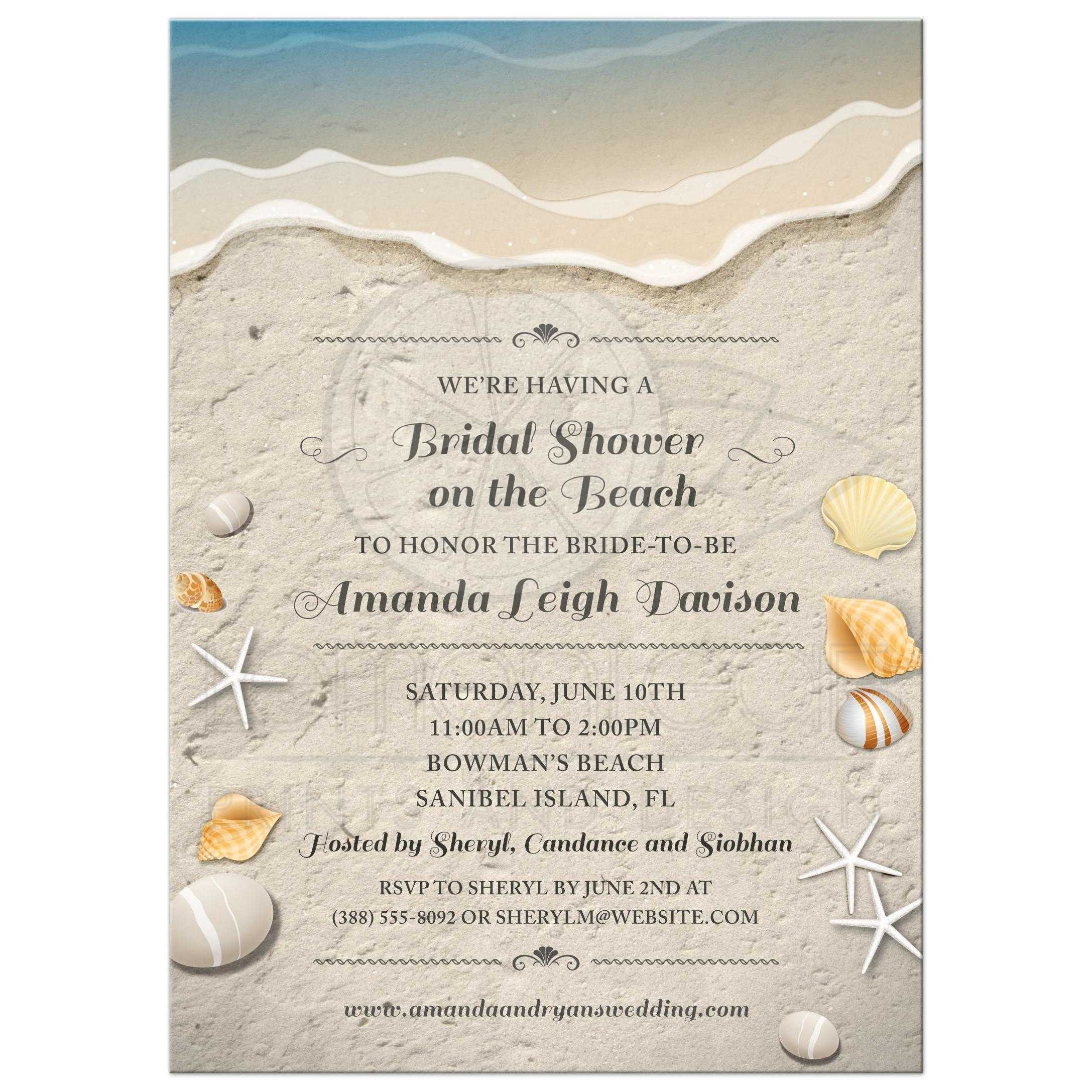 Beach bridal wedding shower invitation waters edge seashells and sand filmwisefo