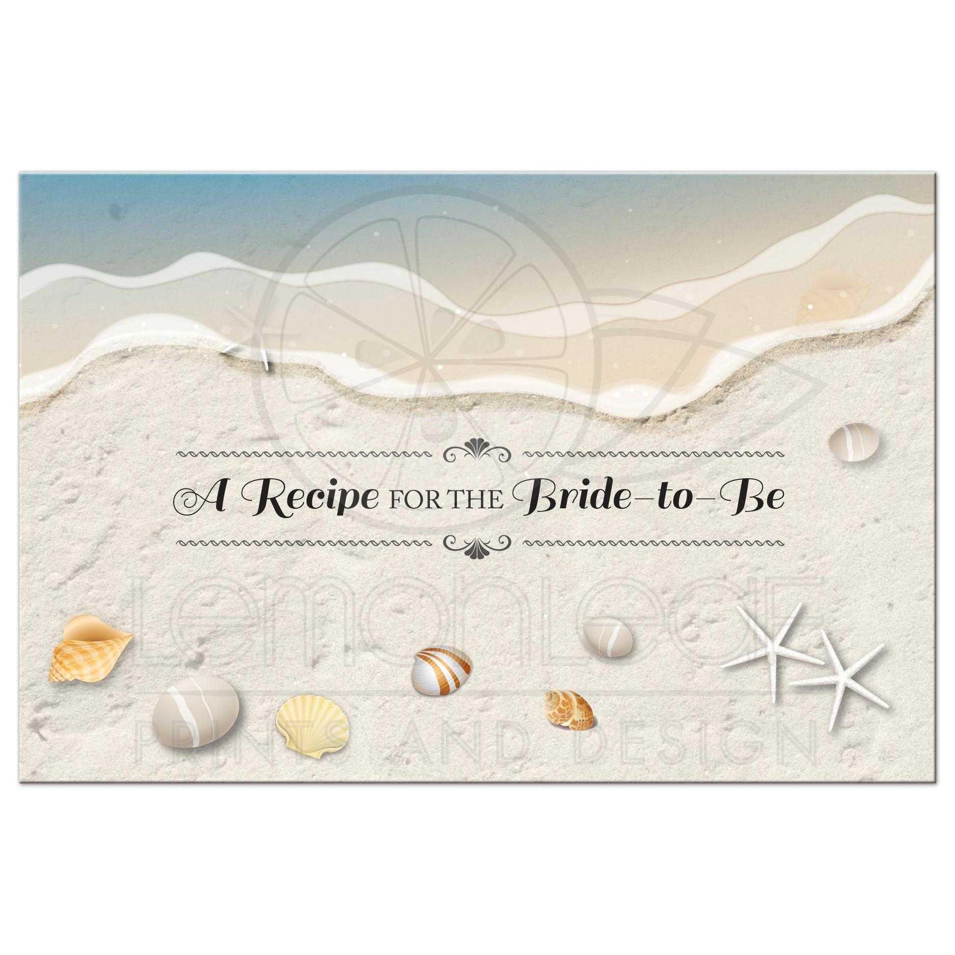 beach bridal wedding shower recipe card waters edge seashells and sand