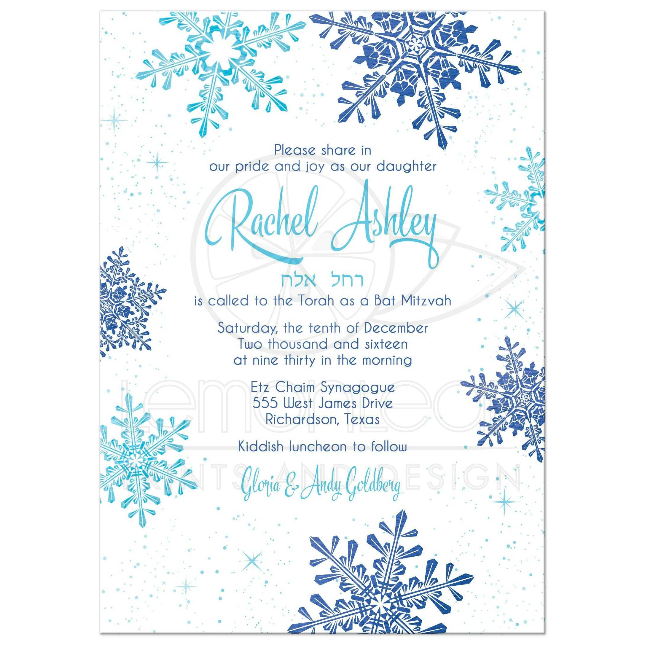 35594_Rectangle_turquoise_royal_blue_white_snowflake_winter_bat_mitzvah_invitation_front